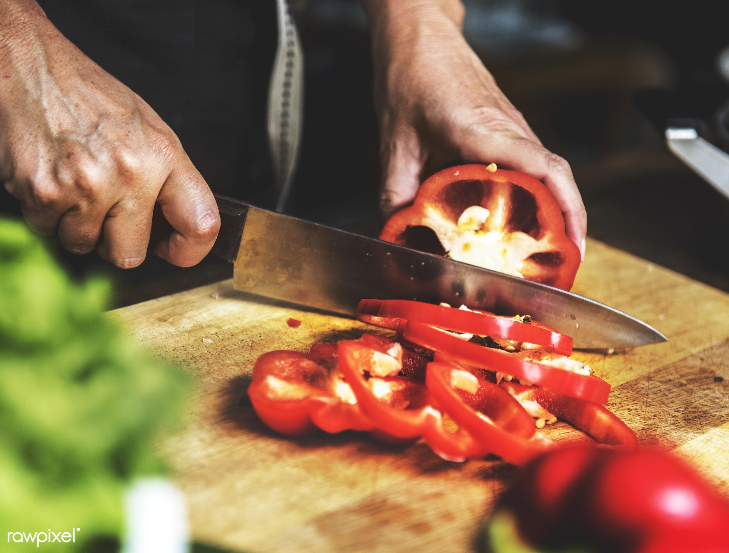 cuisine, chopping board, bell pepper, gastronomy, ingredients, making, cooking, veggie, preparing, knife, gourmet,...