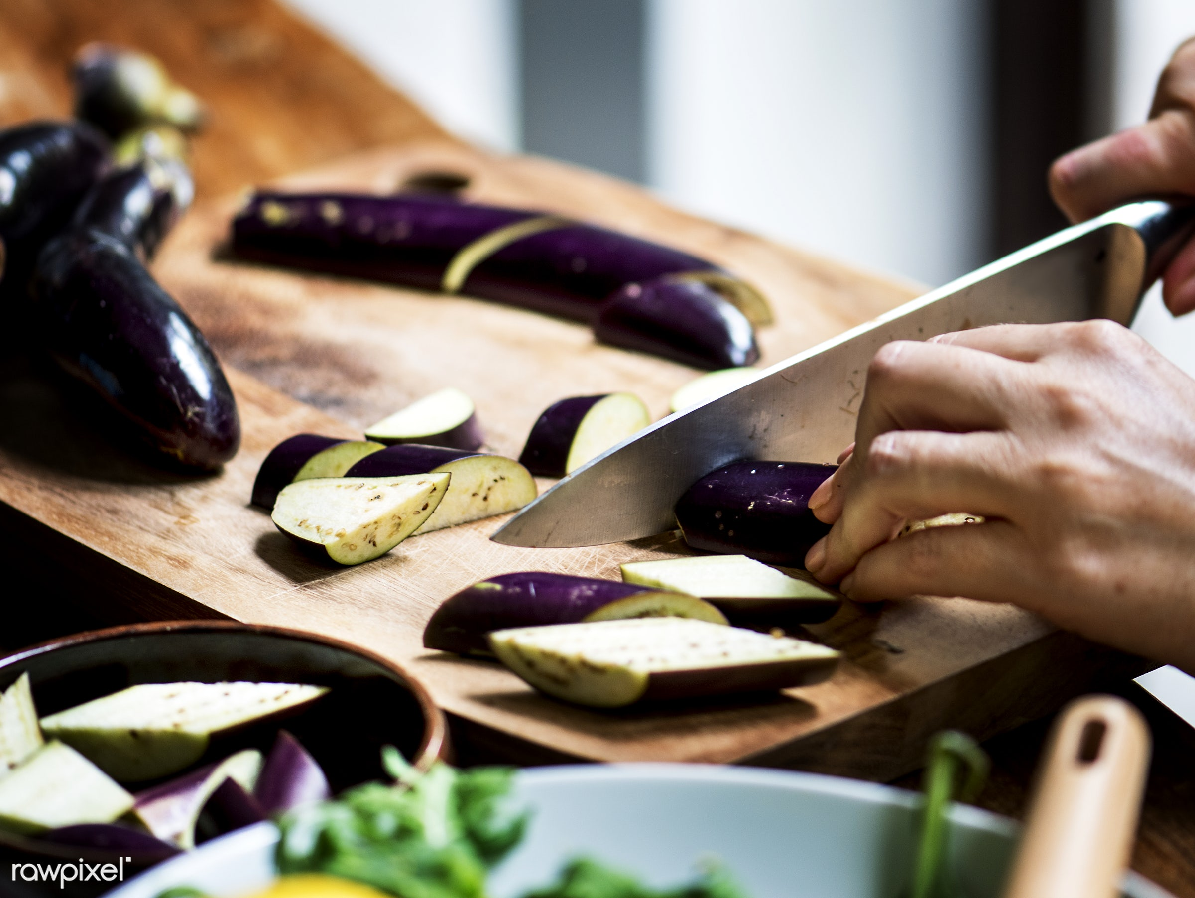 A person slicing vegetable - raw, diverse, chopping board, eggplant, farm, ingredients, nature, farmer, fresh, hands,...
