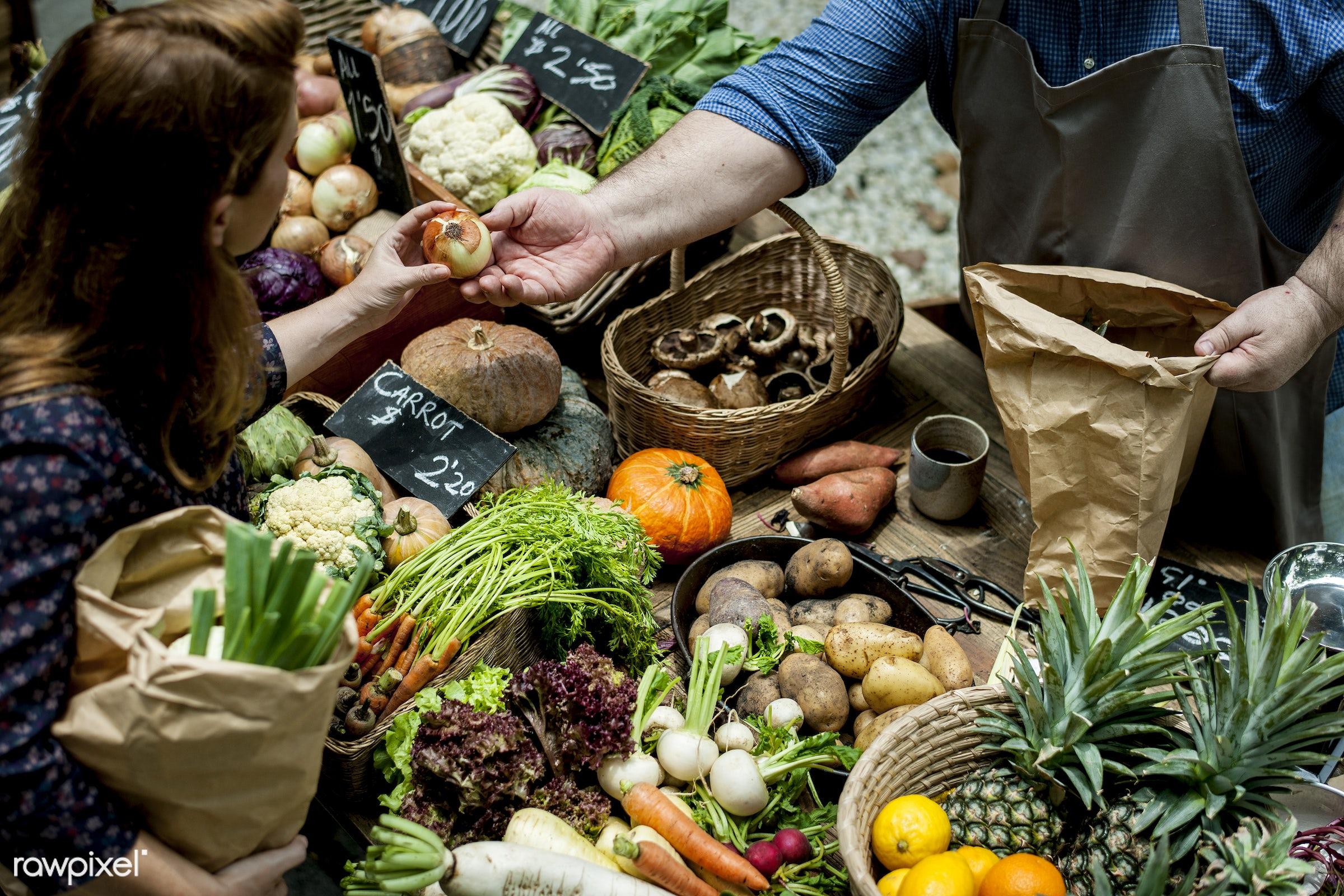 raw, diverse, buy, caucasian, farm, ingredients, farmer, nature, fresh, choosing, wooden basket, products, onion,...