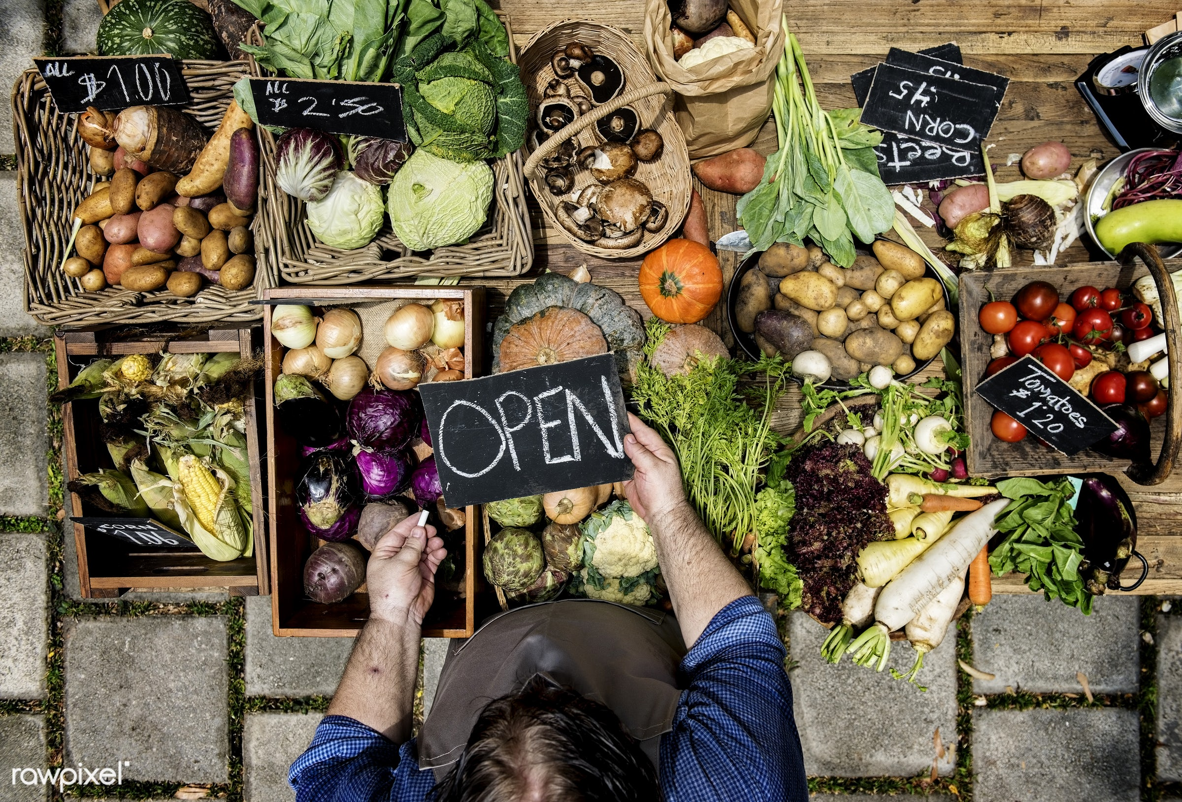 raw, holding, diverse, herbs, set, ingredients, farm, open, nature, fresh, various, aerial view, products, man, chalk board...