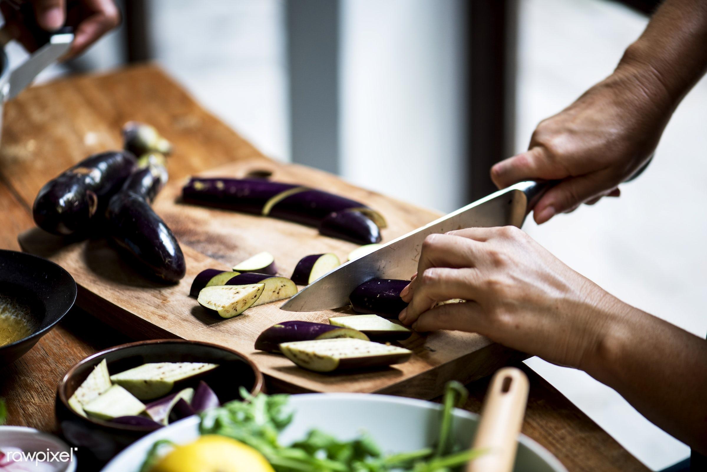 raw, diverse, chopping board, eggplant, farm, ingredients, nature, farmer, fresh, hands, products, closeup, knife, cut board...