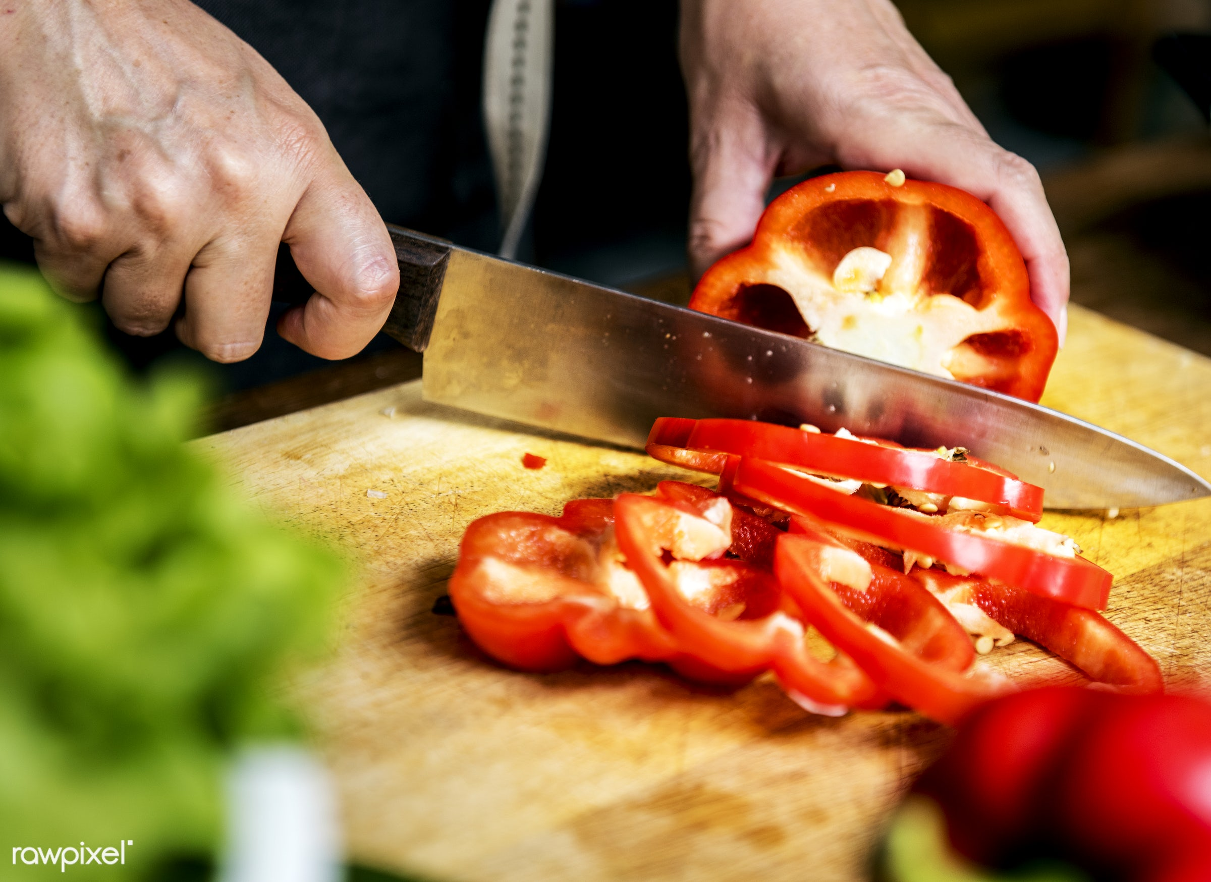 raw, diverse, chopping board, bell pepper, farm, ingredients, nature, farmer, fresh, hands, products, closeup, knife, cut...