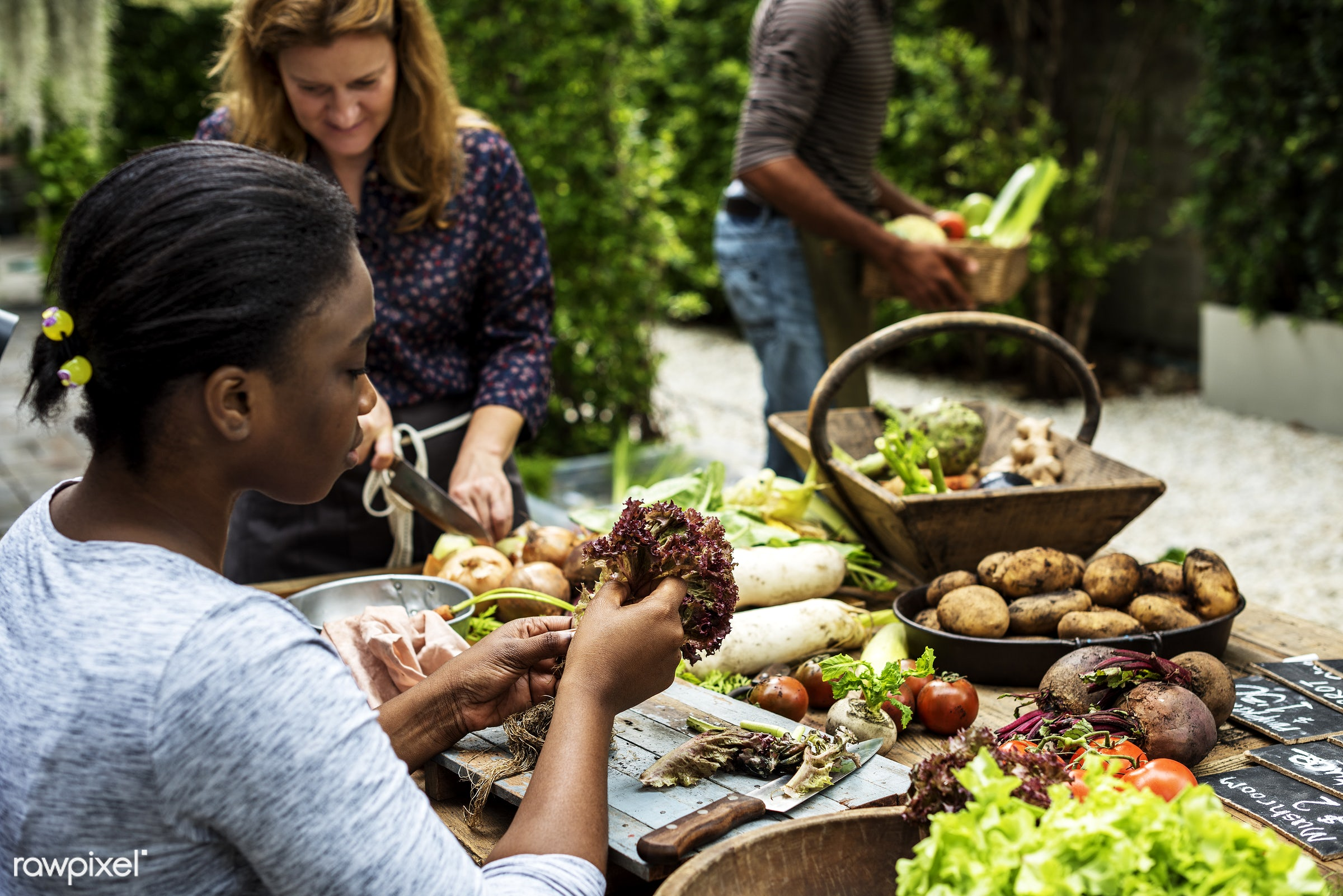 raw, herbs, caucasian, ingredients, farm, real, friends, nature, sell, fresh, woman, various, working, products, man, black...