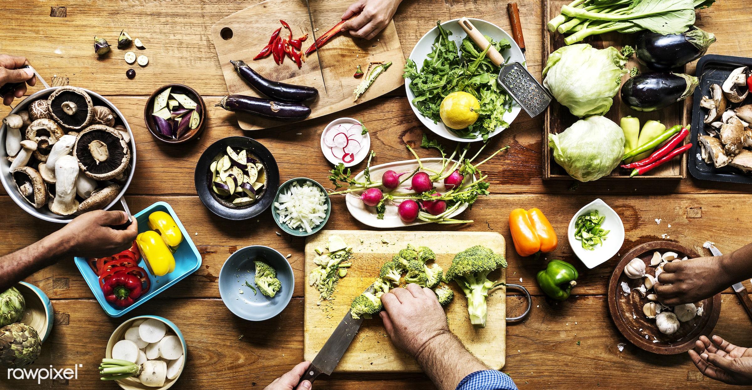 cuisine, variation, chopping board, type, gastronomy, kind, ingredients, broccoli, making, cooking, veggie, preparing, knife...