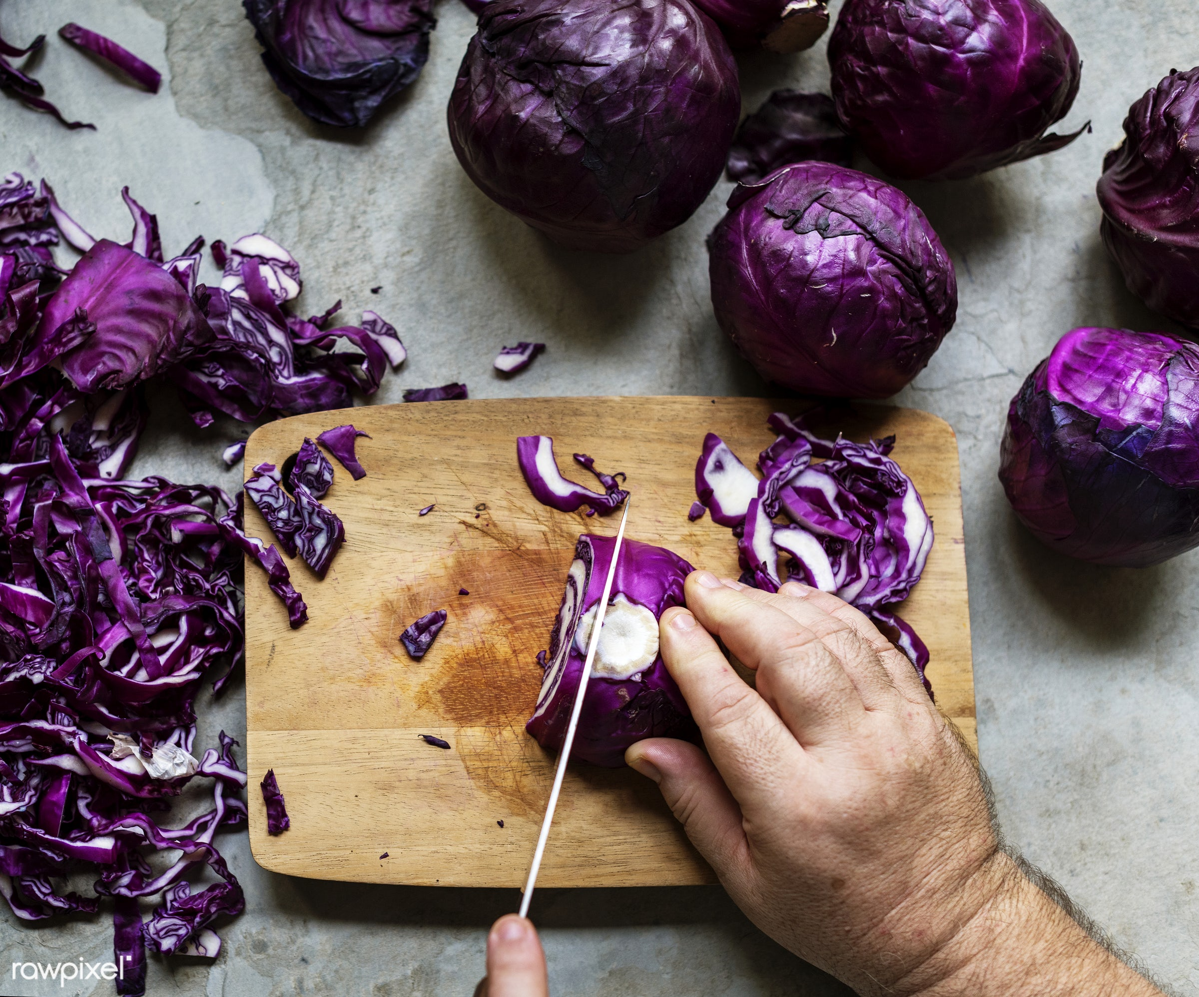 raw, red cabbage, diverse, chopping board, farm, ingredients, nature, farmer, fresh, hands, products, closeup, knife, cut...