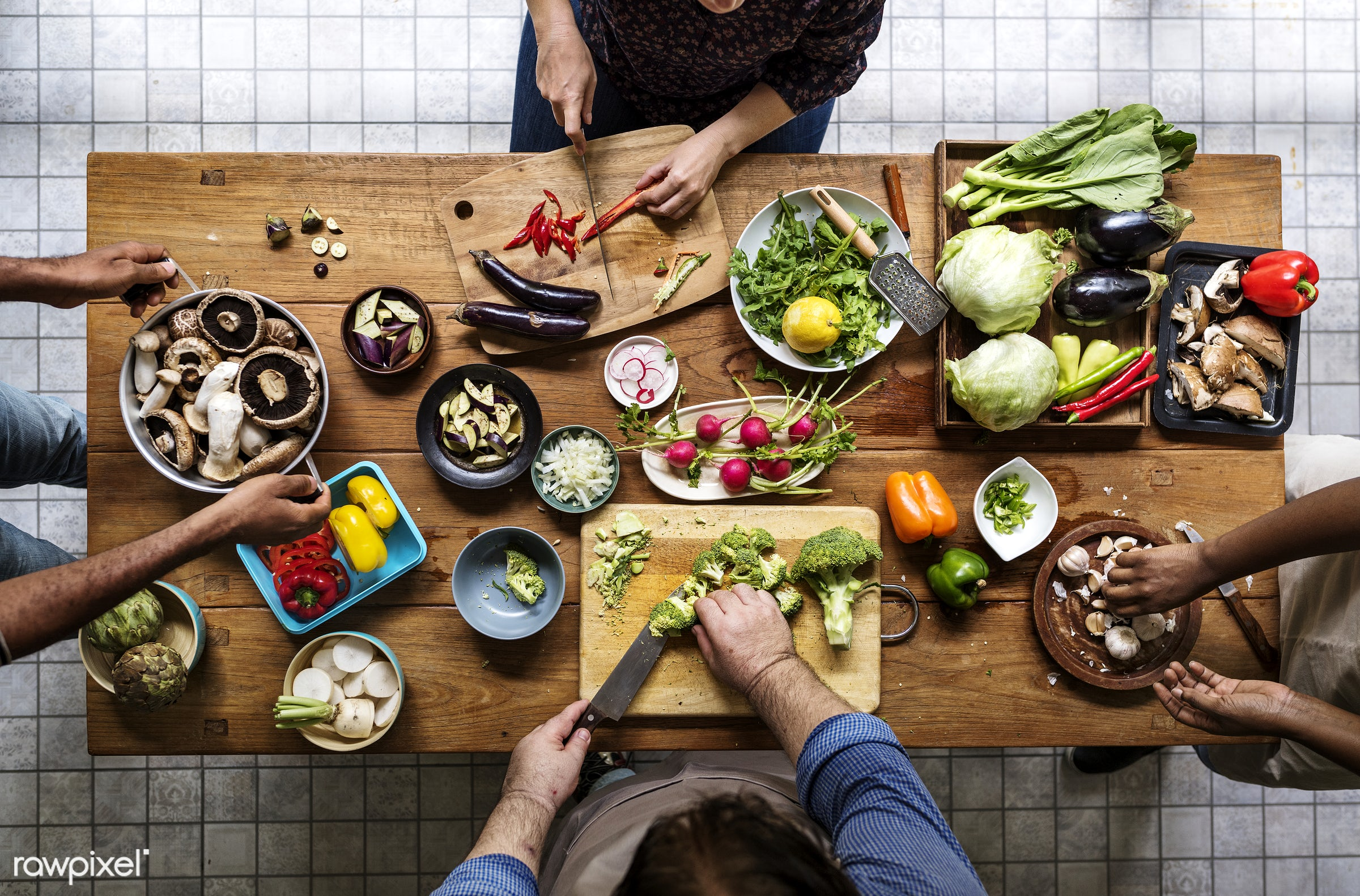 People cooking in the kitchen - raw, diverse, chopping board, farm, ingredients, friends, nature, farmer, fresh, hands,...
