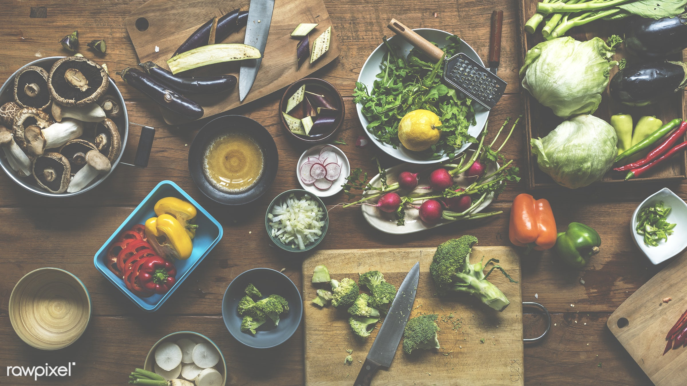 raw, diverse, herbs, ingredients, farm, nature, fresh, broccoli, aerial view, products, knife, cut board, agriculture,...