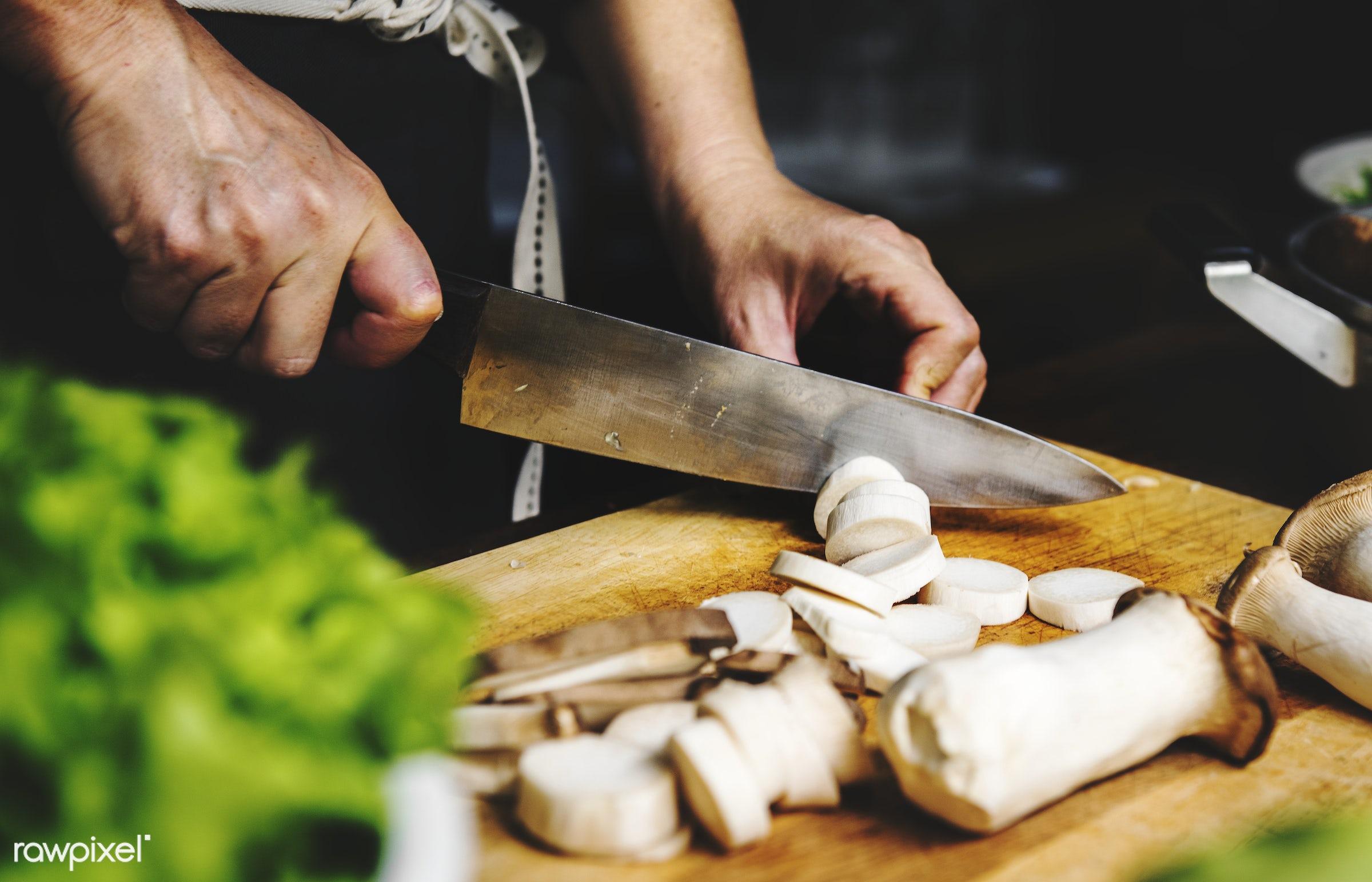 raw, mushroom, diverse, chopping board, farm, ingredients, nature, farmer, fresh, hands, products, closeup, knife, cut board...