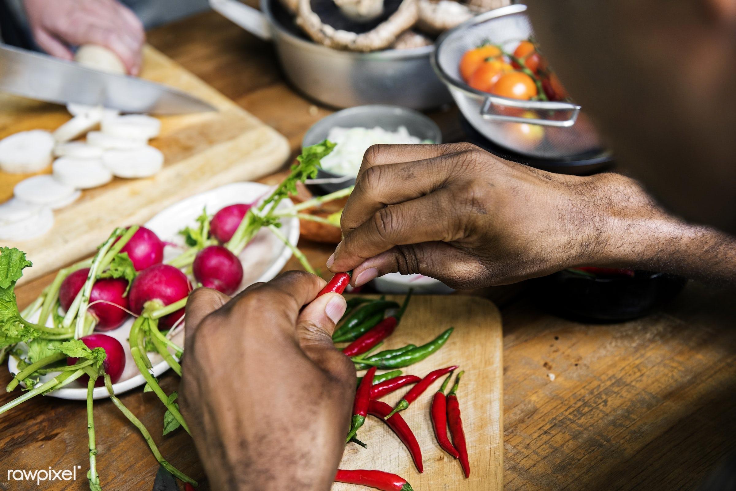 raw, diverse, chopping board, pepper, ingredients, farm, nature, farmer, hands, fresh, products, closeup, cut board,...