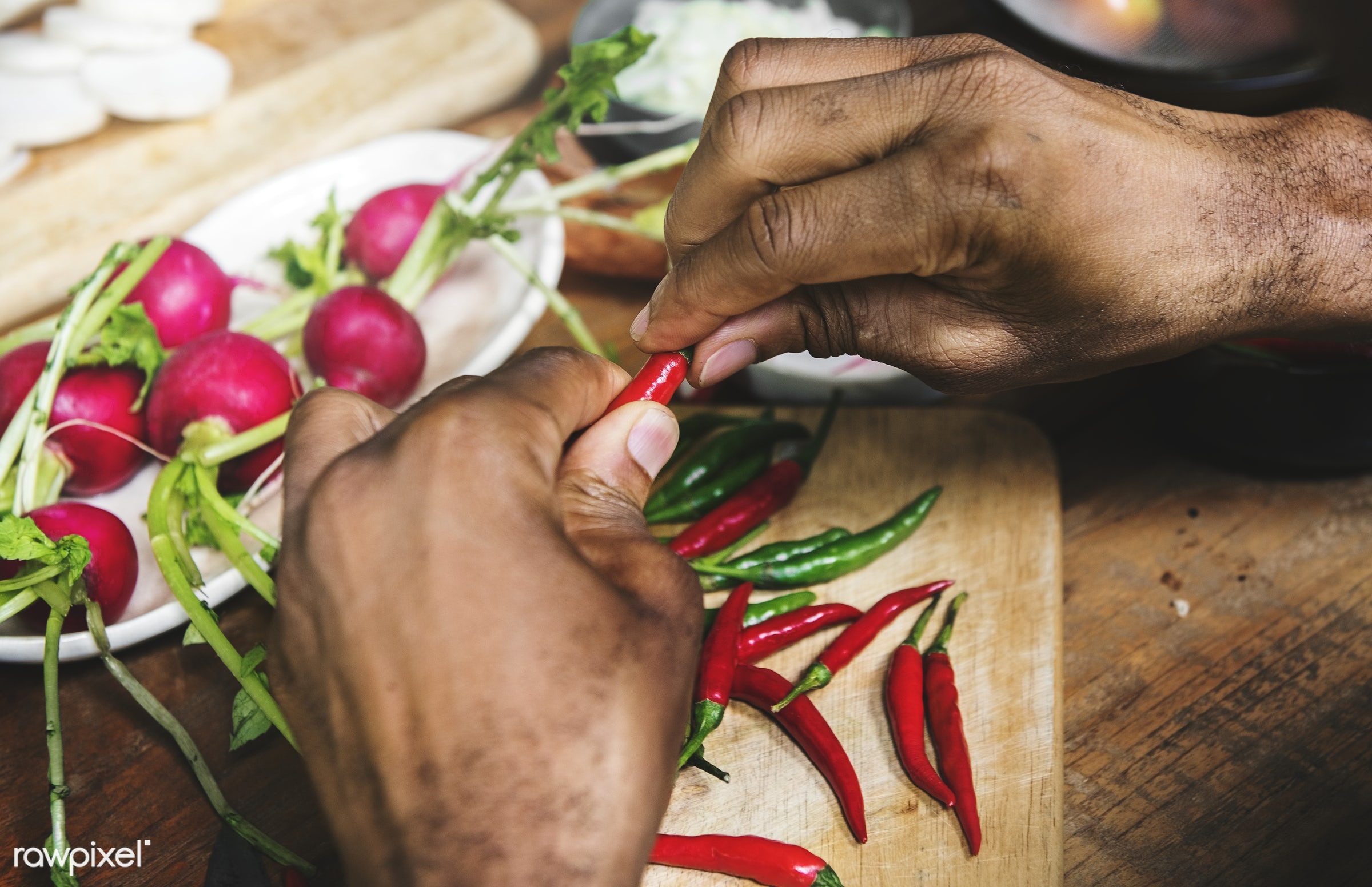 raw, diverse, chopping board, pepper, farm, ingredients, farmer, nature, fresh, hands, products, closeup, cut board,...
