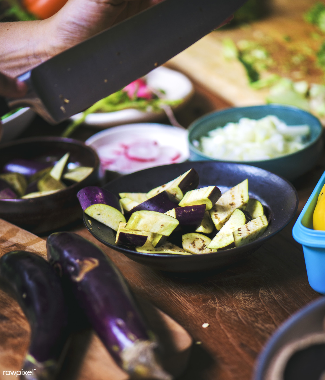 cuisine, gastronomy, ingredients, hands, veggie, gourmet, eggplants, vegetables, nutrition, wooden, chopped, food, healthy,...