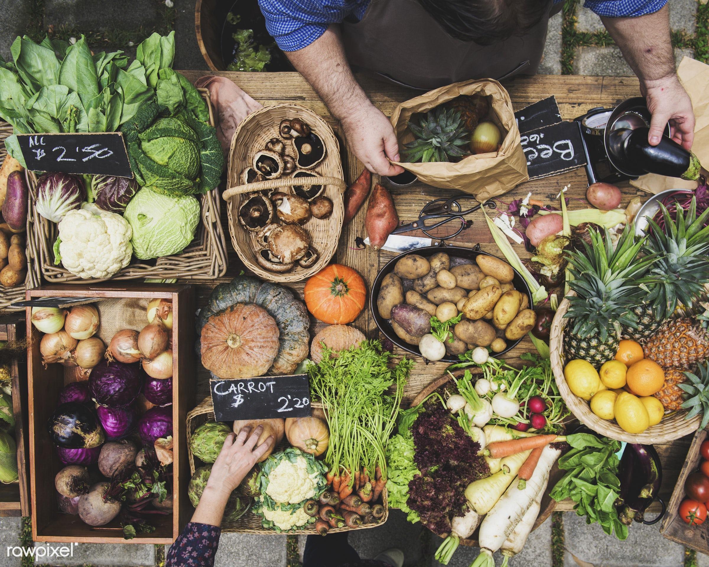 cuisine, variation, gastronomy, type, kind, ingredients, hands, buying, veggie, gourmet, selling, wooden bucket, vegetables...