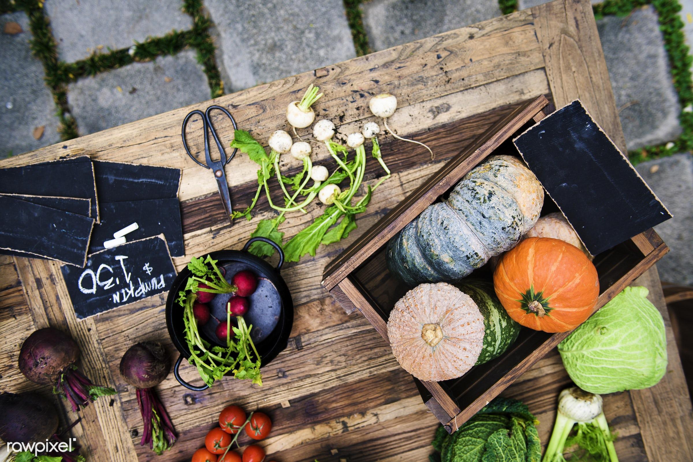 cuisine, turnips, gastronomy, ingredients, buying, veggie, gourmet, selling, wooden bucket, pumpkin, vegetables, aerial,...