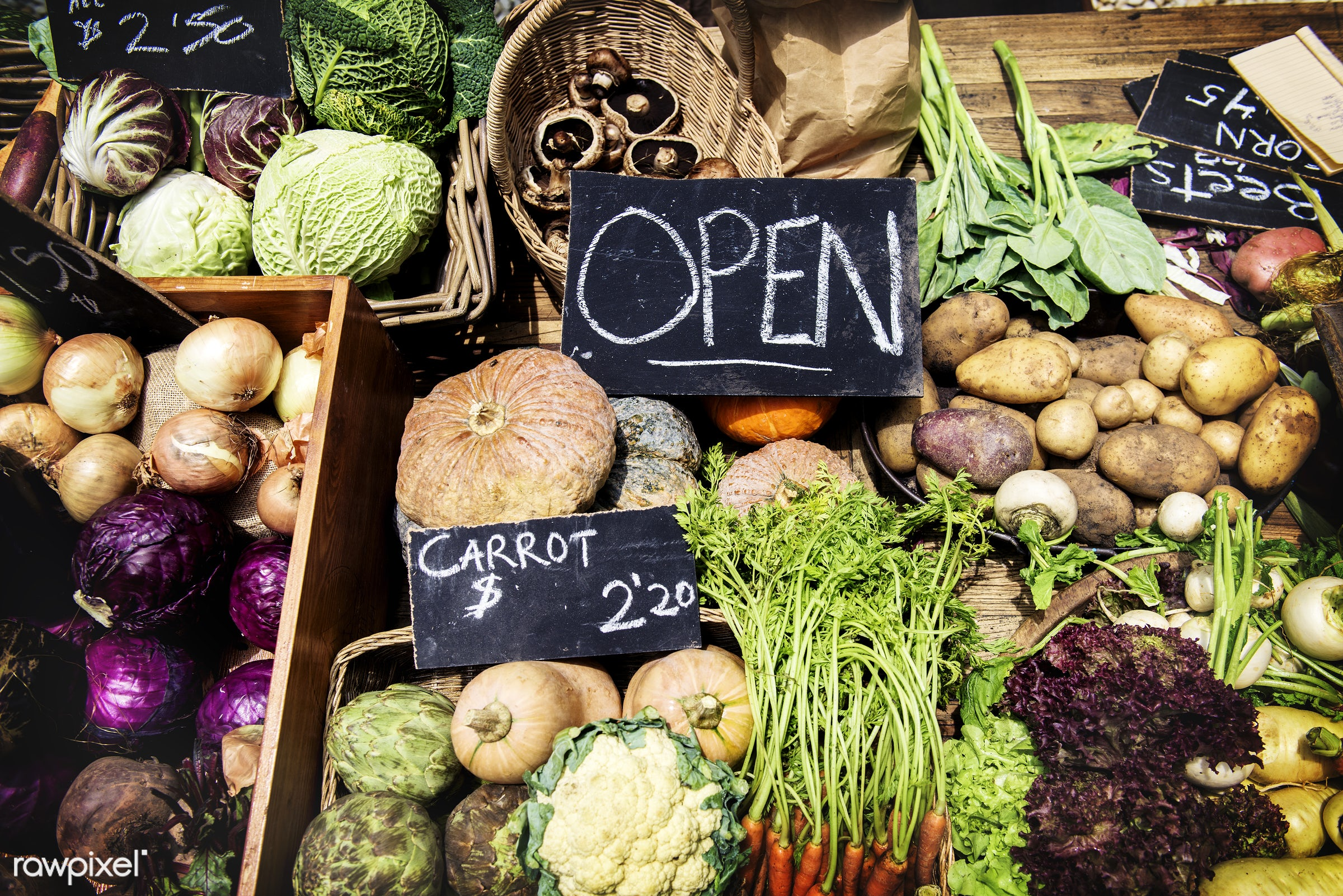 Various types of fresh organic vegetable at the market - raw, mushroom, nobody, carrot, colorful, diverse, farm, ingredients...