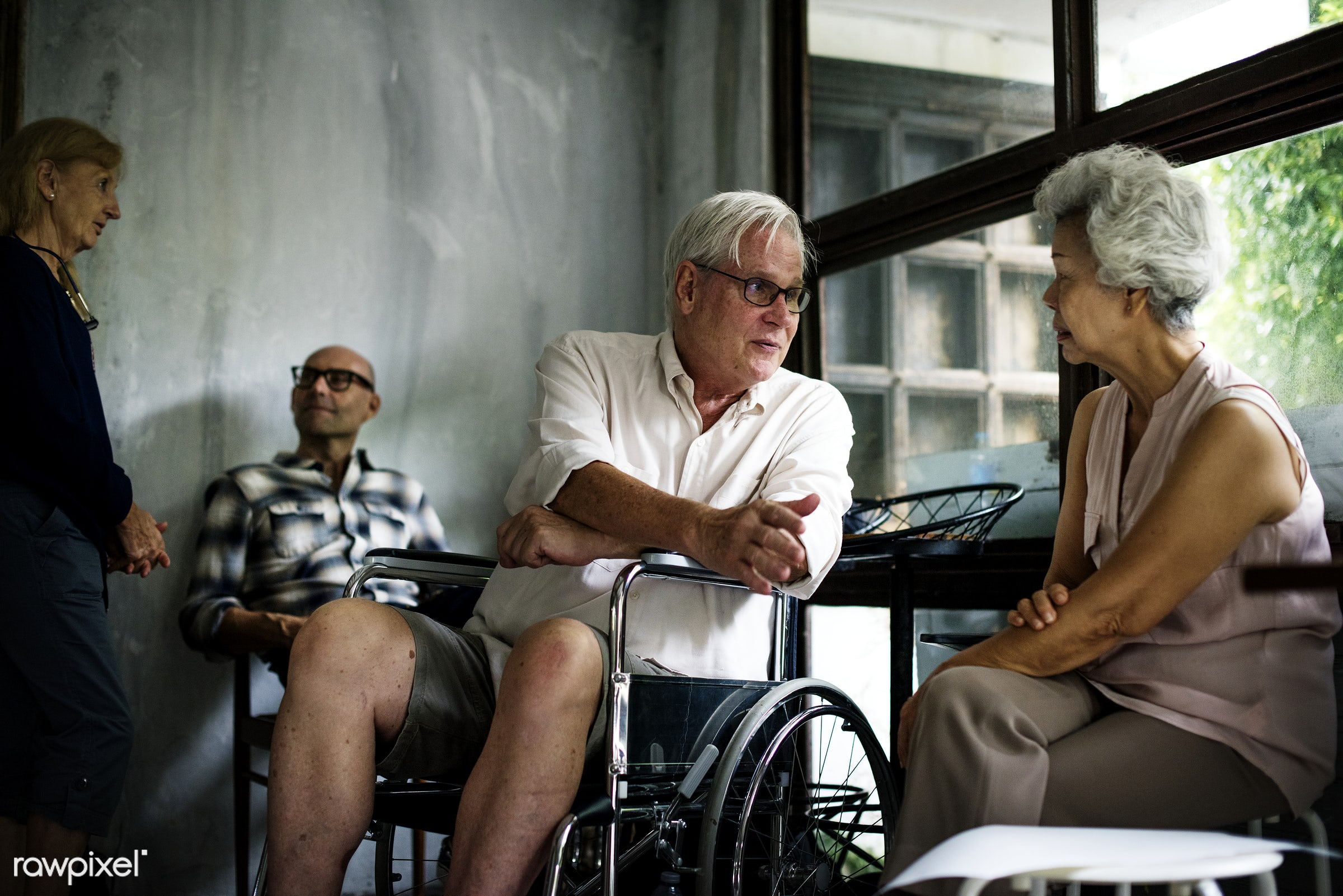 spouses, old, relax, indoors, people, together, friends, wheelchair, disability, various, disable, cheerful, handicapped,...