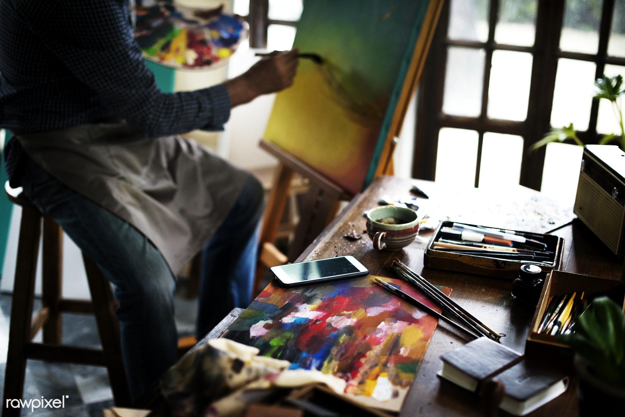 colorful, workspace, recreation, mobile phone, artist, painter, closeup, work, creative, art, hobby, canvas, leisure, paint...
