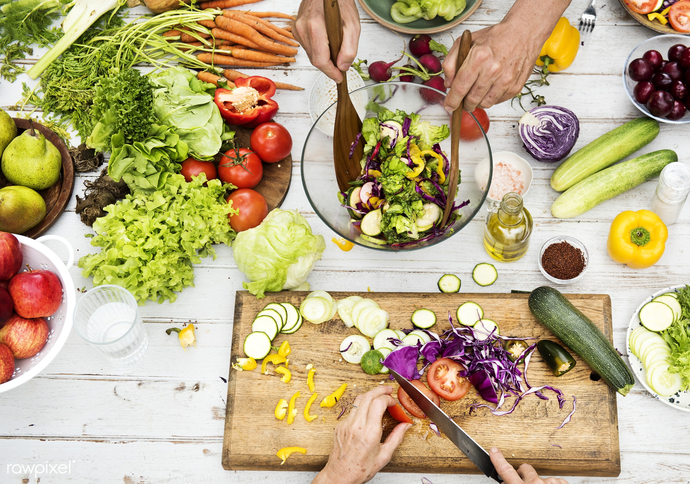 diverse, real, hands, fresh, cooking, various, closeup, meal, superfood, cut board, chopping, aerial, prepare, cutting,...