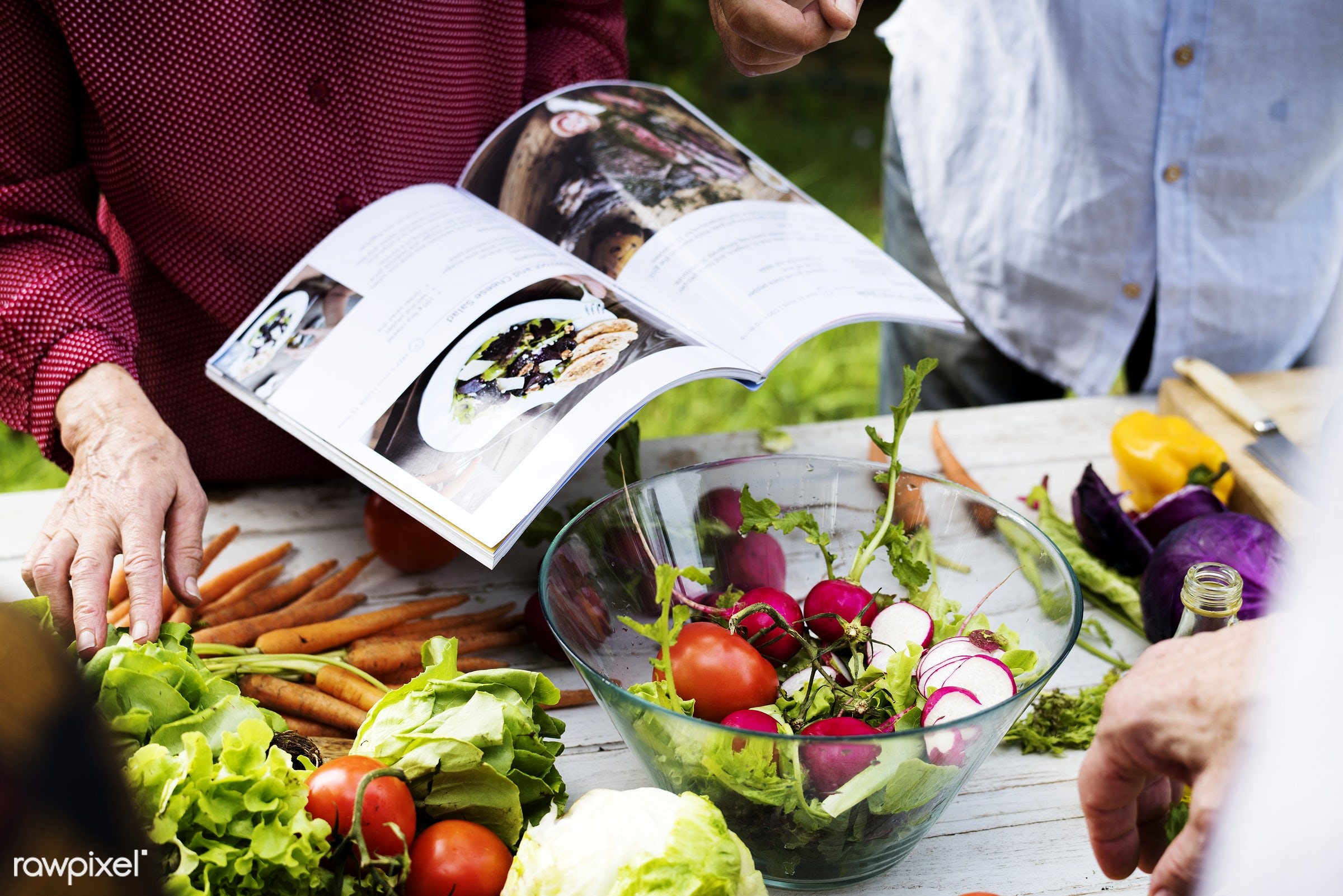 salad, recipe, yard, diverse, together, ingredients, hands, fresh, cook book, spouse, various, cooking, couple, backyard,...