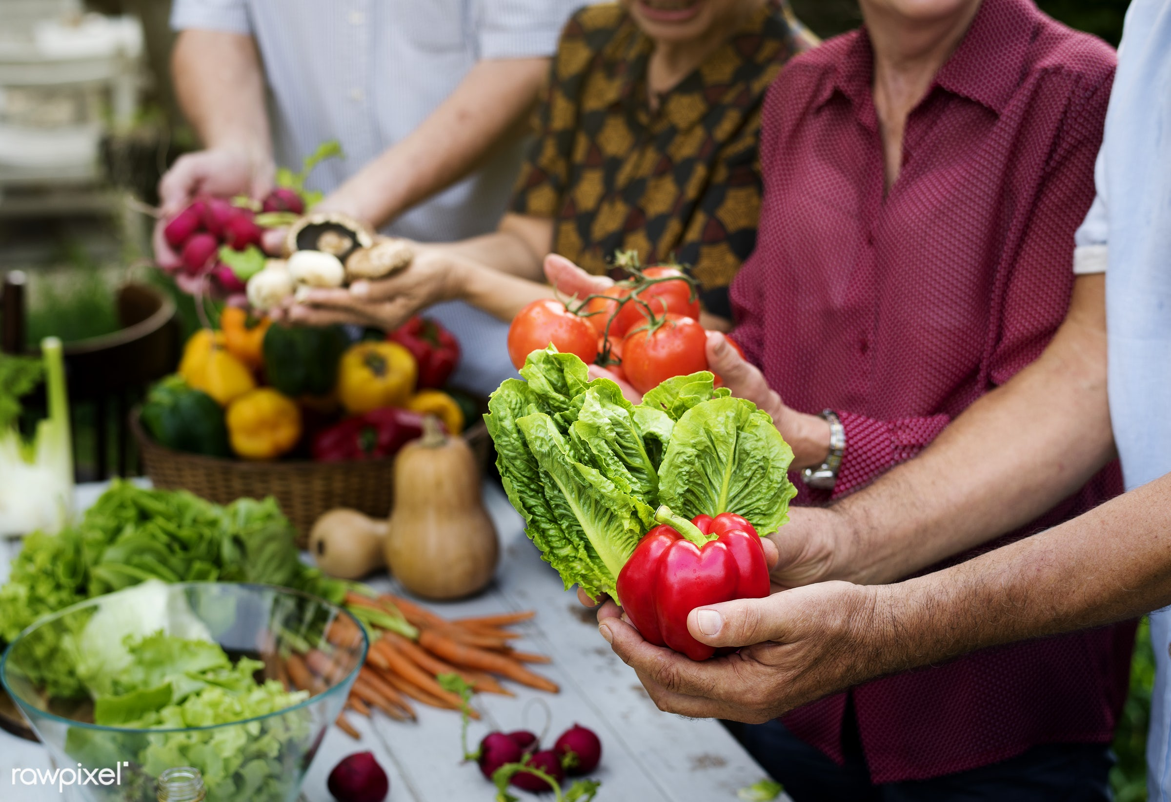 tomato, diverse, holding, bell pepper, together, caucasian, asian, real, friends, fresh, hands, spouse, showing, various,...