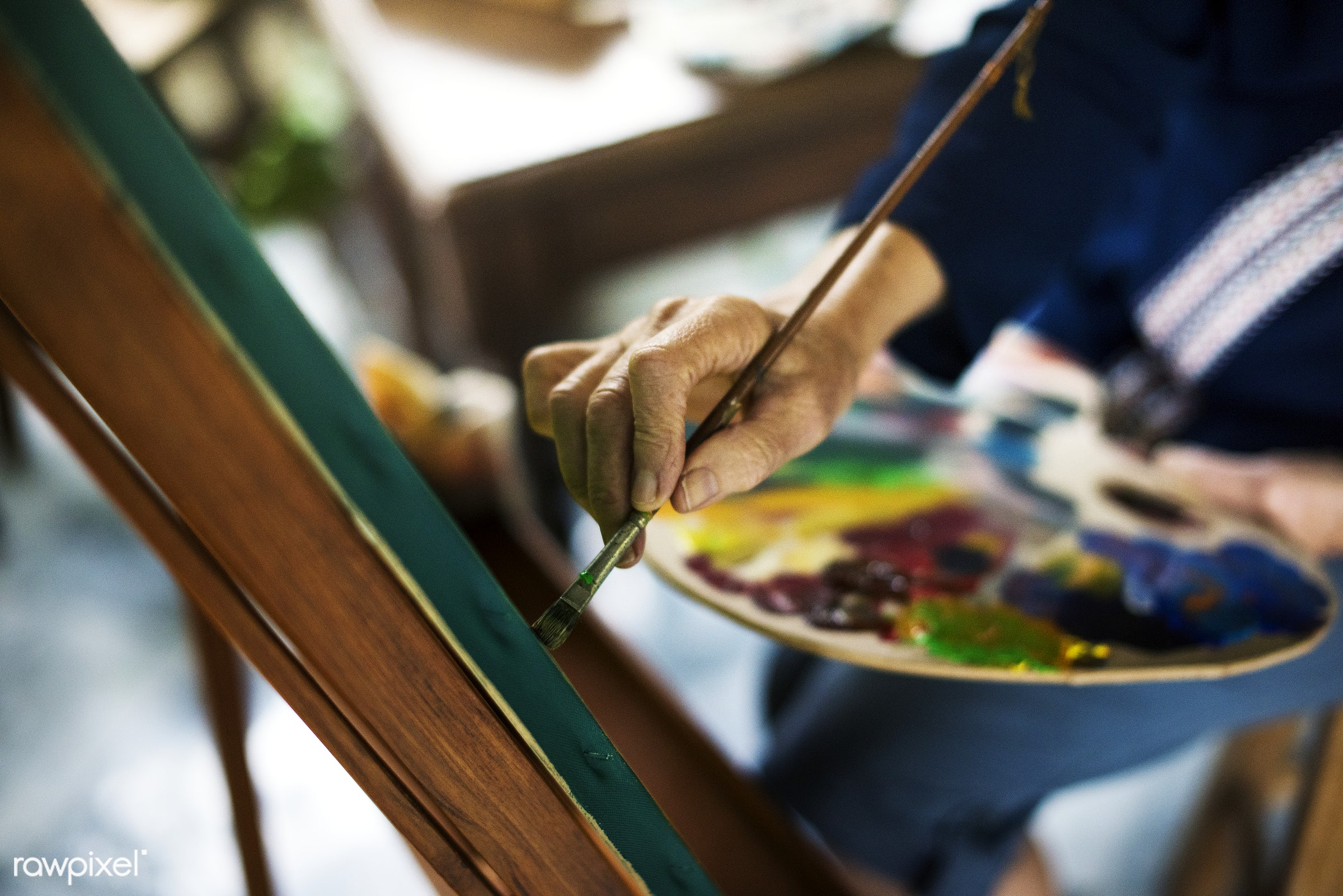 colorful, workspace, palette, recreation, hands, painter, artist, closeup, work, creative, art, hobby, canvas, leisure,...