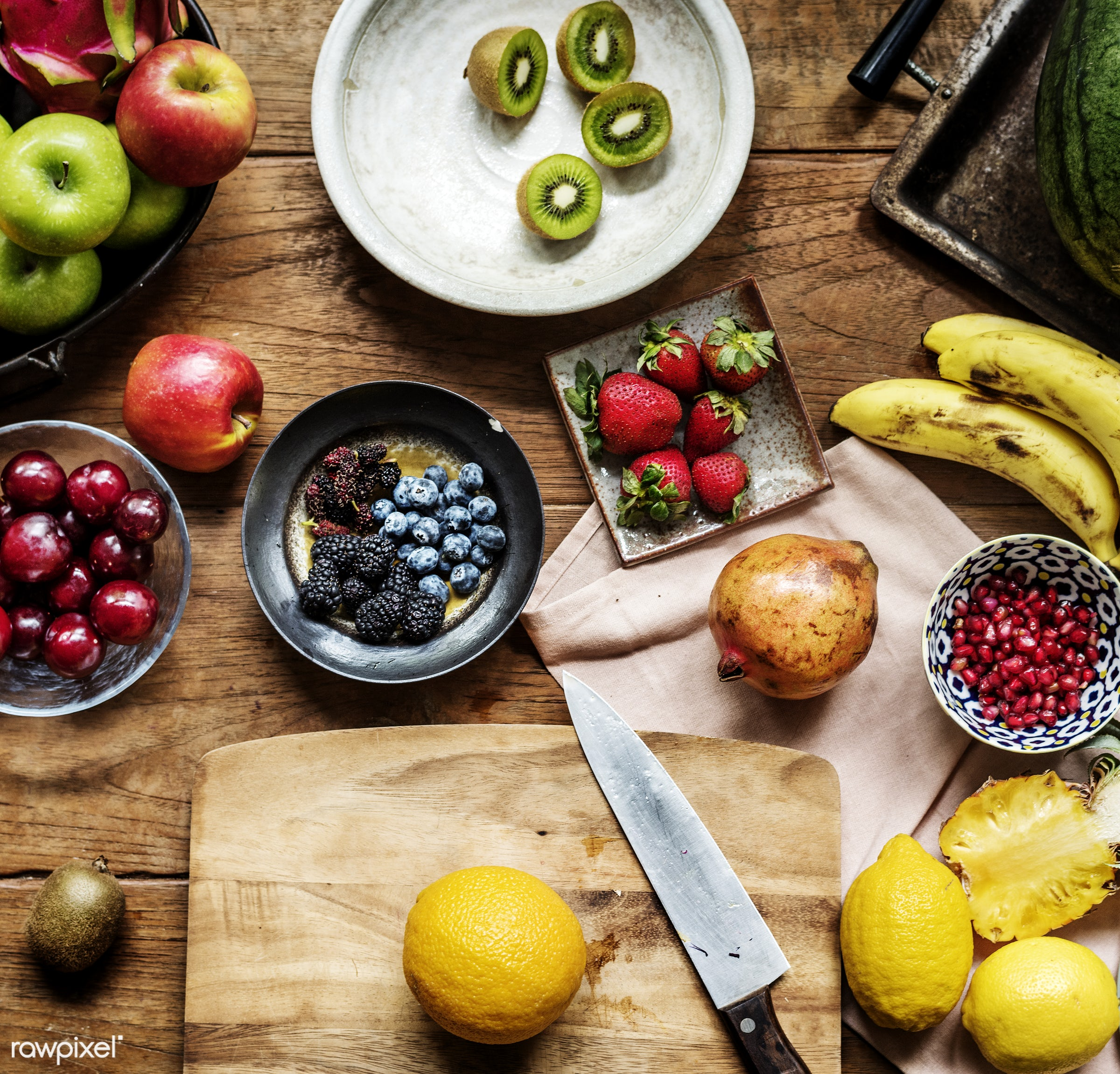 Various of fresh fruits on wooden table - nobody, diverse, tropical, real, fresh, kiwi, apples, various, closeup, meal,...