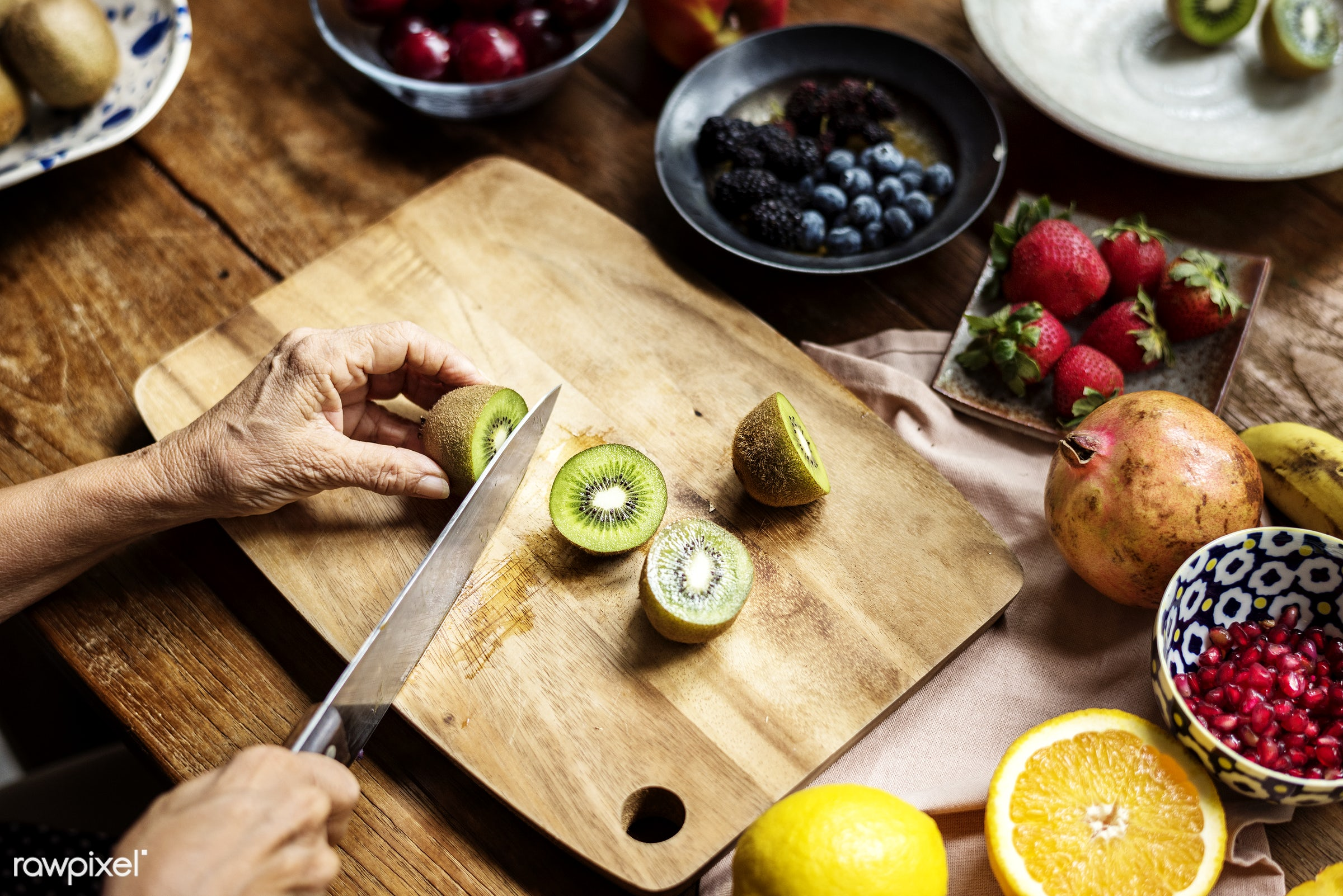 diverse, real, hands, fresh, kiwi, various, closeup, meal, superfood, cut board, chopping, fruits, prepare, cutting, board,...