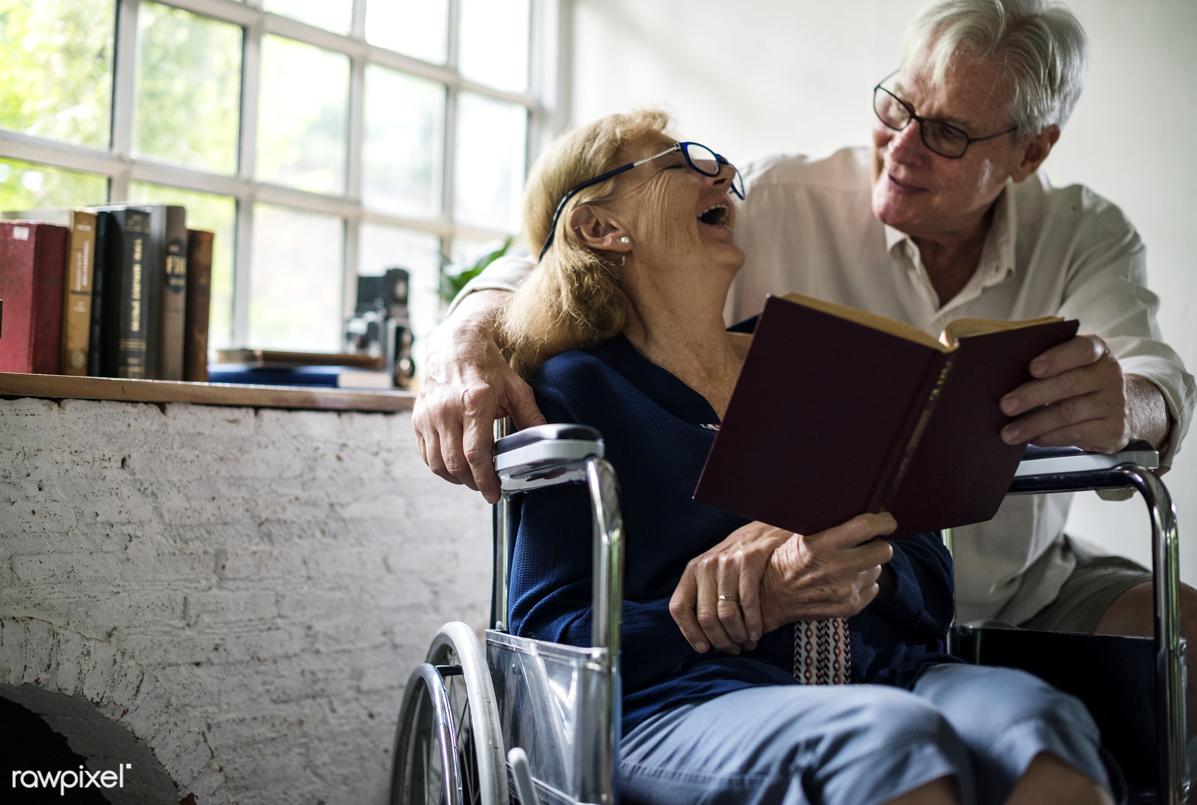 expression, face, old, people, together, caucasian, love, friends, wheelchair, spouse, read, disability, couple, disable,...