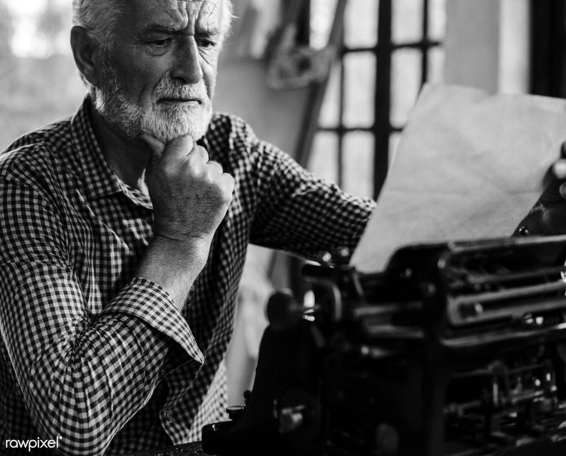 paper, tool, old school, retro, type, caucasian, style, typewriter, writer, journalist, man, vintage, grayscale, thoughtful...