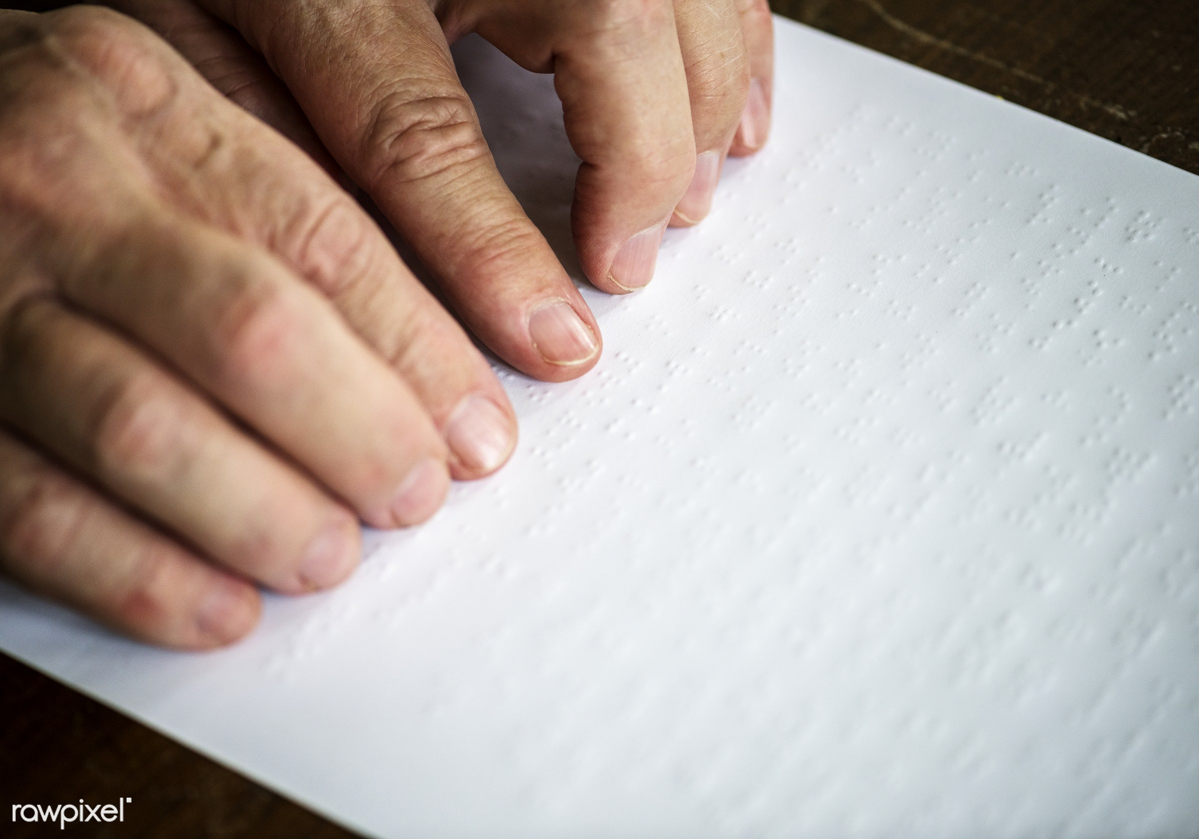 Reading braille letters - braille, paper, hands, read, disability, closeup, handicapped, letter, hobby, leisure, touch, book...