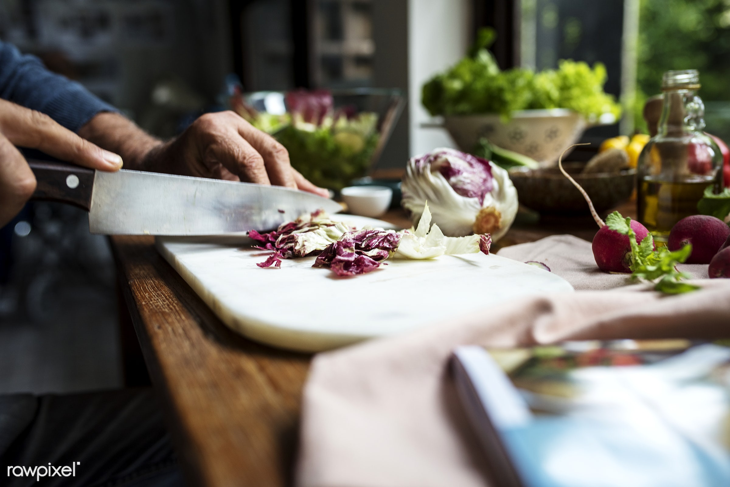 diverse, real, hands, fresh, cooking, various, closeup, meal, superfood, cut board, chopping, prepare, cutting, radicchio,...