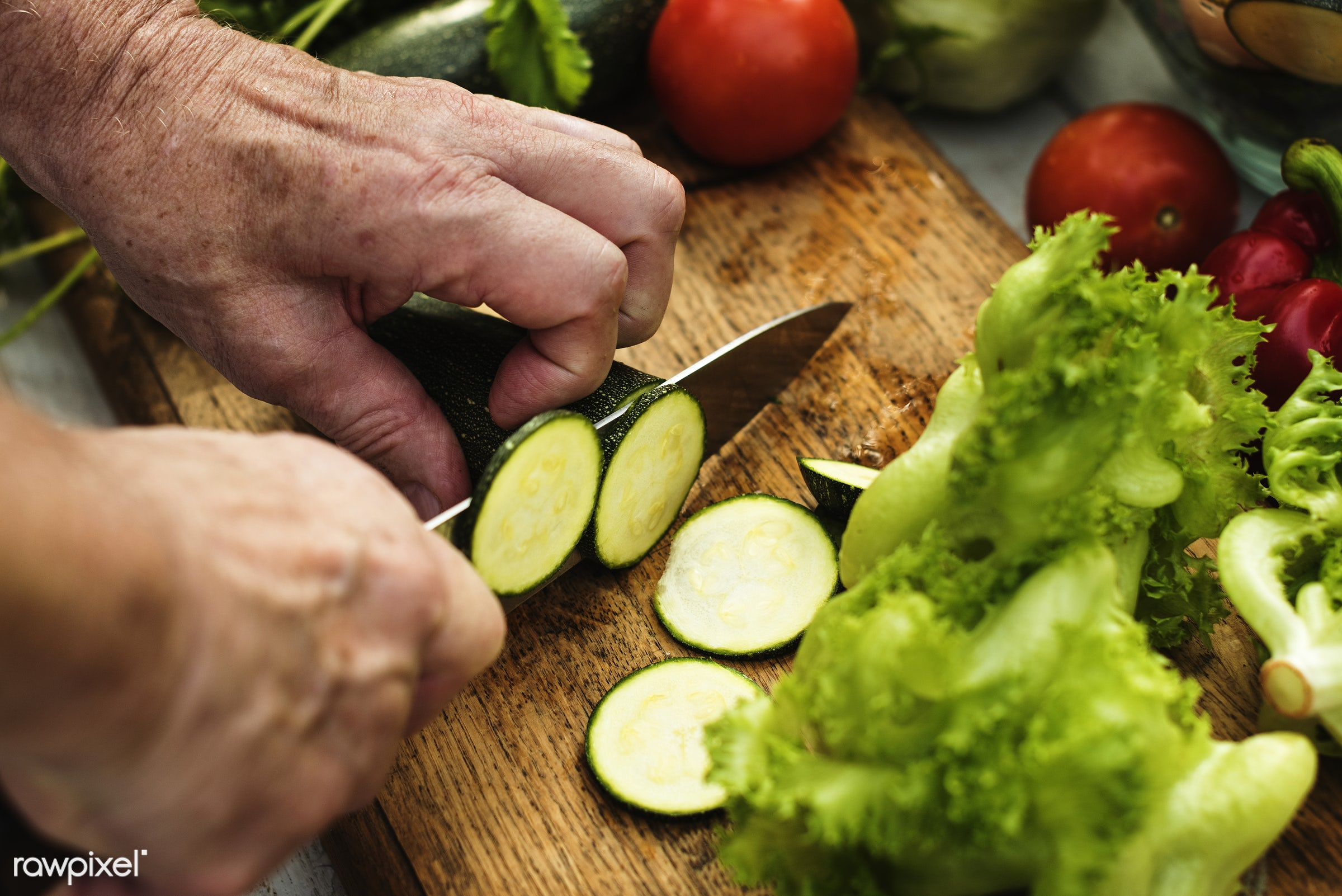 diverse, real, zucchini, hands, fresh, cooking, various, closeup, meal, superfood, cut board, chopping, prepare, cutting,...