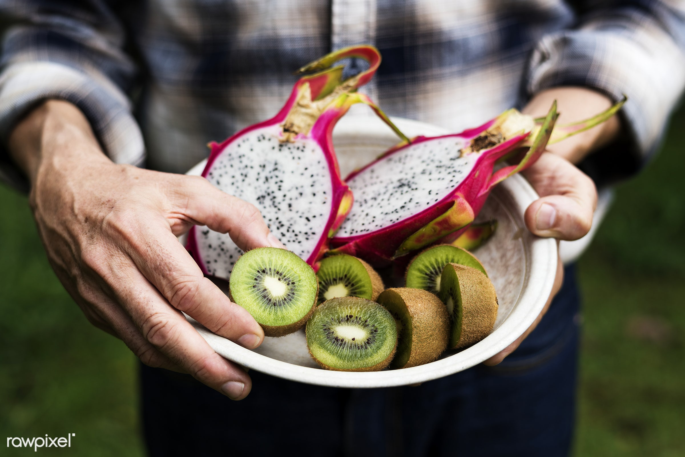 bowl, holding, half, nutrients, real, organic, dragon fruit, fresh, hands, food, kiwi, showing, cut, vegetable, closeup,...