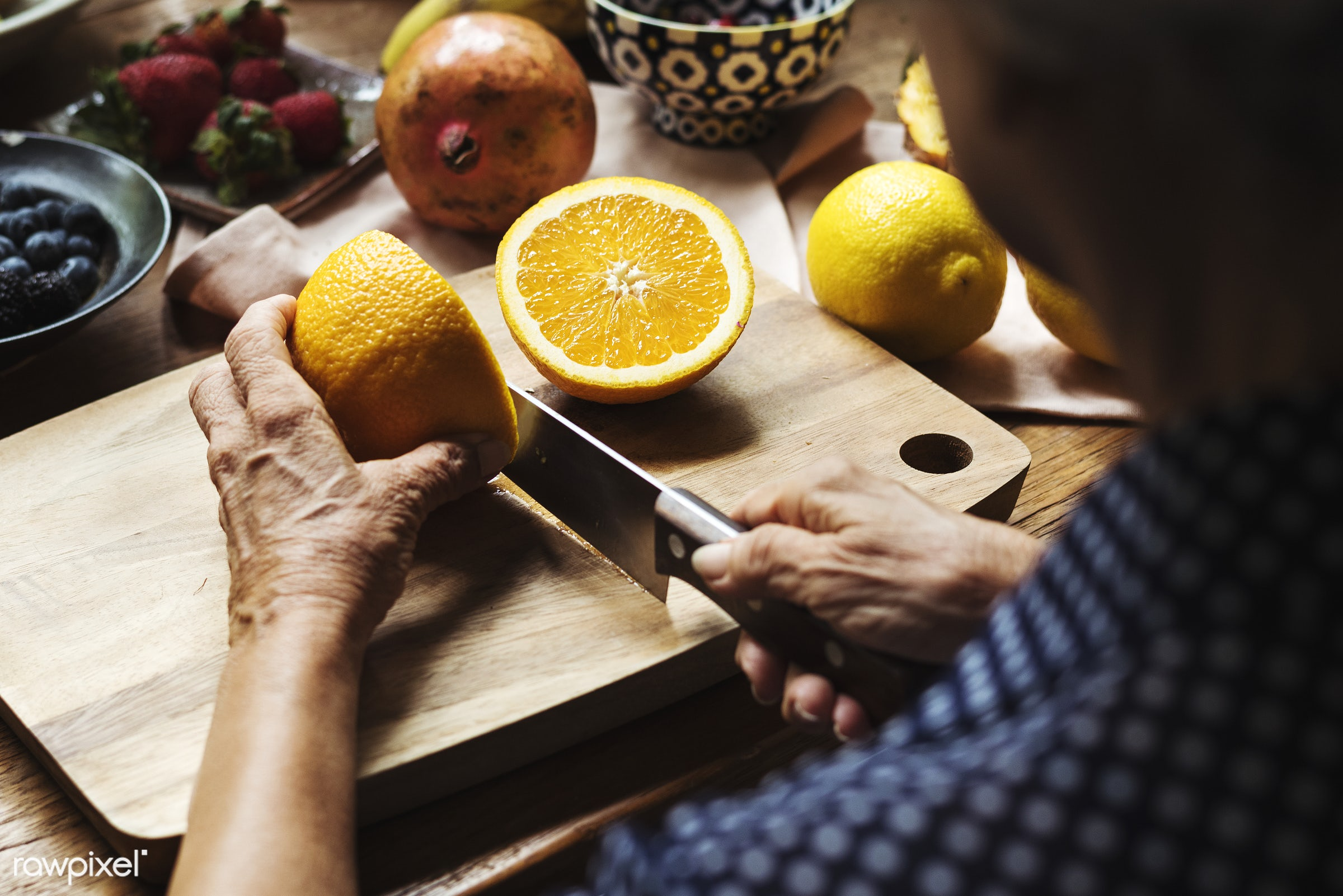 diverse, real, hands, fresh, cooking, various, closeup, meal, superfood, orange, cut board, chopping, fruits, prepare,...
