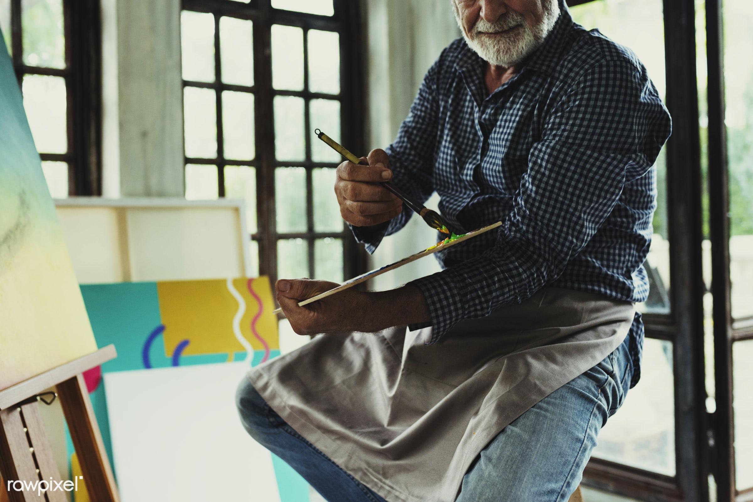 Artist working on acrylic artwork - colorful, workspace, palette, recreation, hands, artist, painter, closeup, work,...