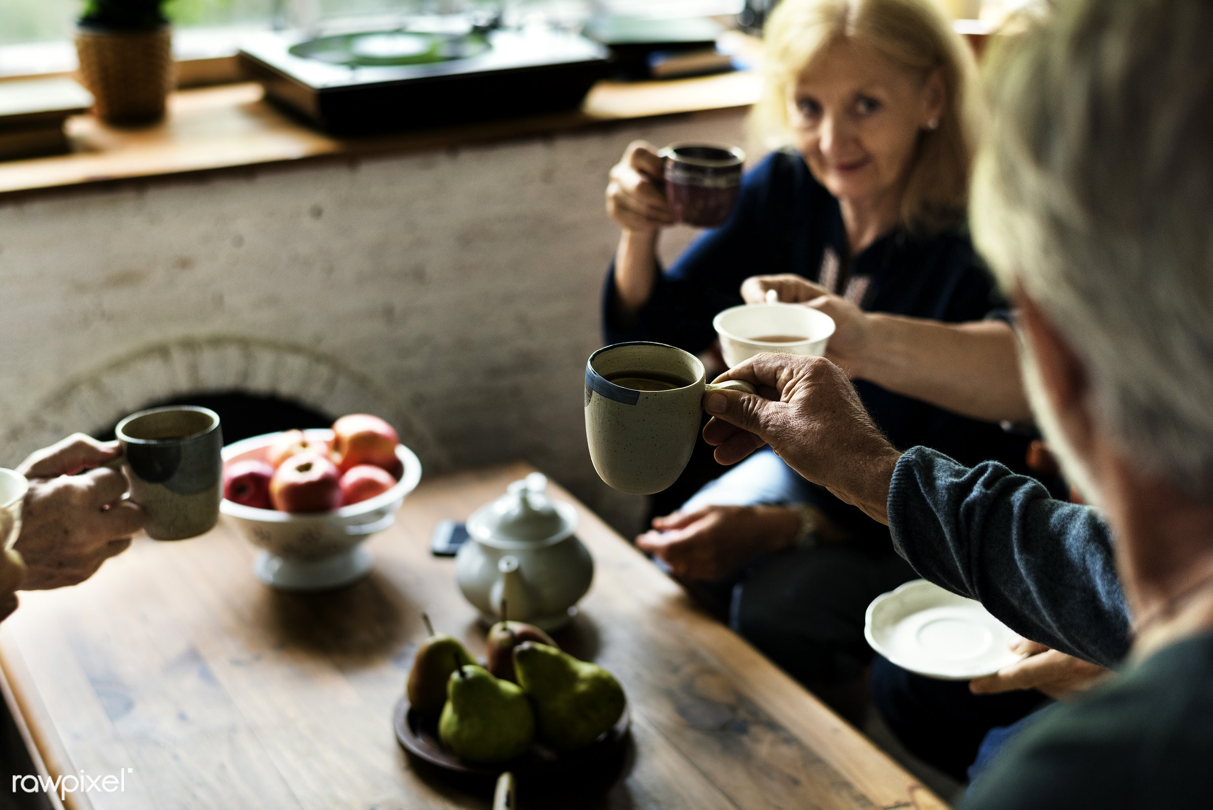 expression, indoors, tea, together, clinking, friends, sharing, fresh, drink, apples, cheerful, closeup, cups, fruits,...