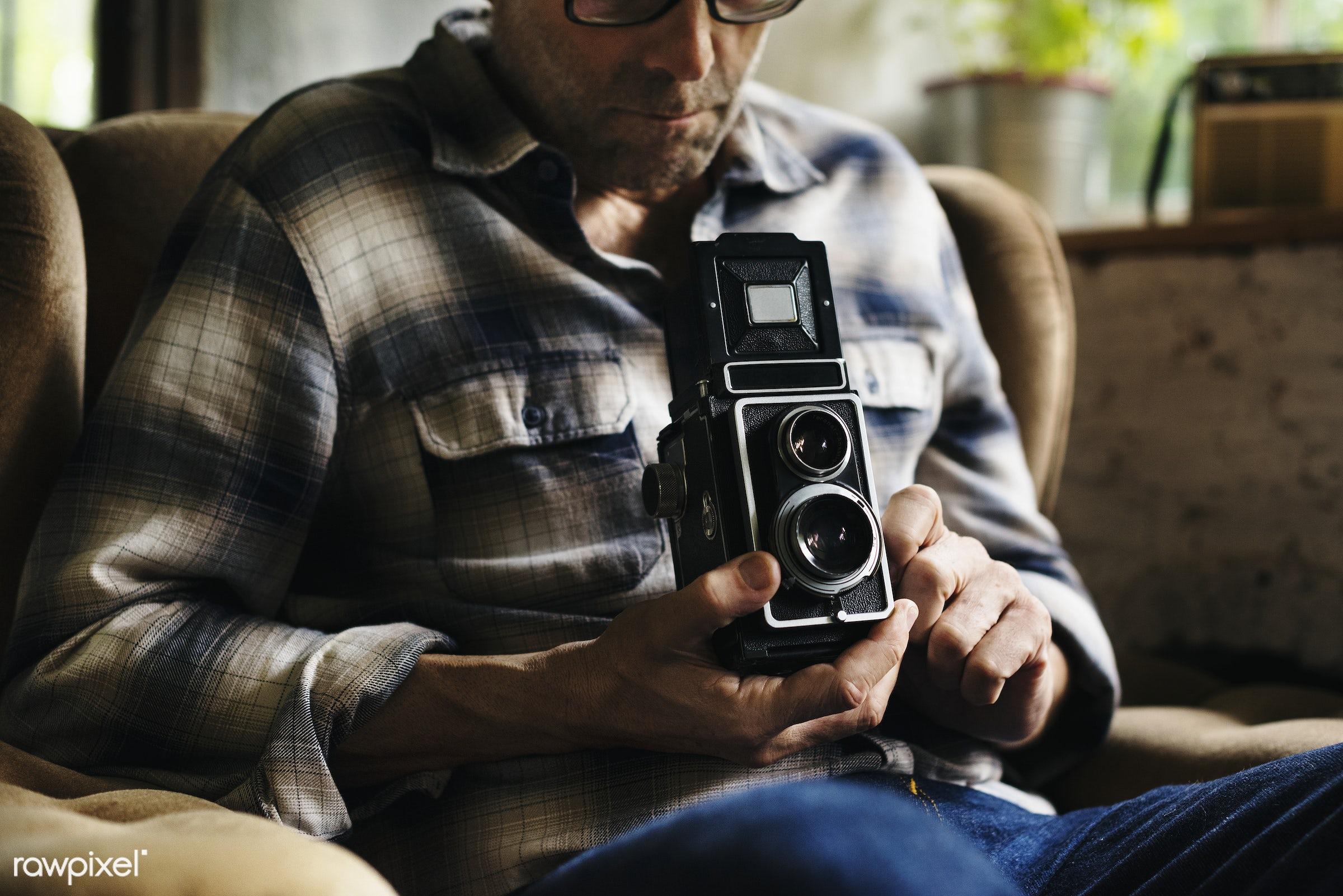 sepia, retro, photography, looking, hands, photographer, checking, classic, closeup, film, vintage, camera, hobby, leisure,...