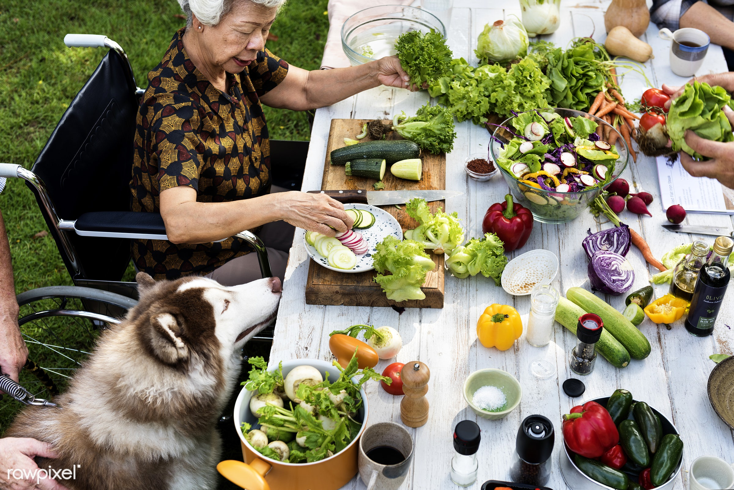 different, salad, recipe, cuisine, homemade, fresh, wheelchair, woman, ingredient, cooking, knife, gourmet, meal, cook,...