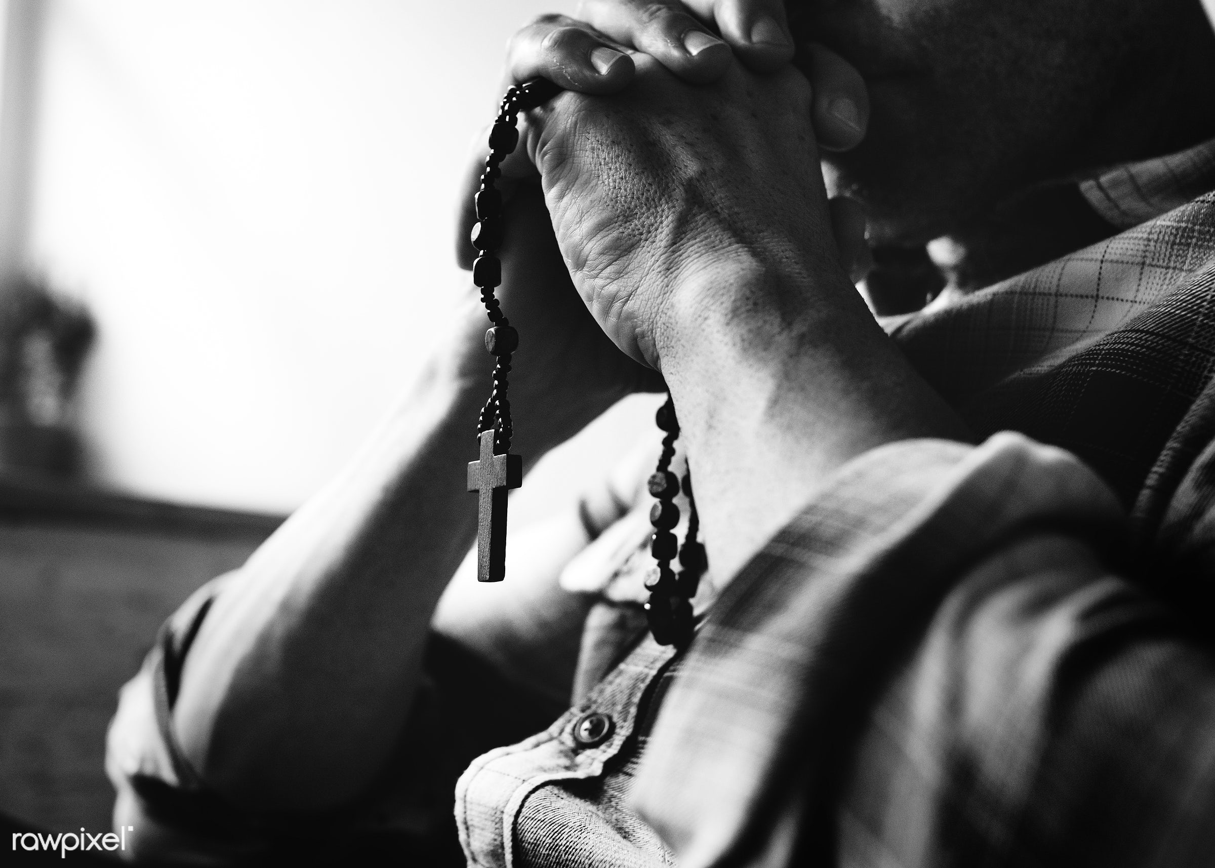 Cloesup of hands holding cross praying grayscale - necklet, christian, god, holding, holy, believe, religion, spiritual,...