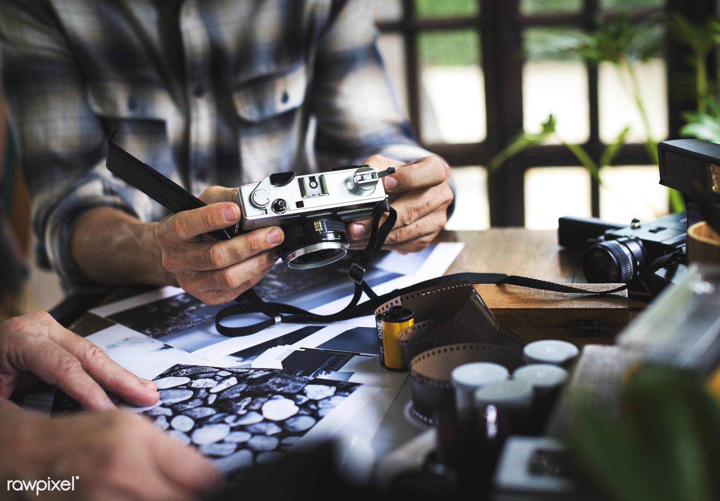film, vintage, camera, hobby, retro, leisure, photography, hands, photographer, activity, classic, closeup, man