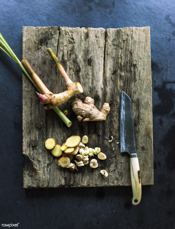 raw, wood, herbs, lemongrass, fiber, fresh, ingredient, cooking, knife, ginger, aerial, culinary, veggies, edible, organic,...