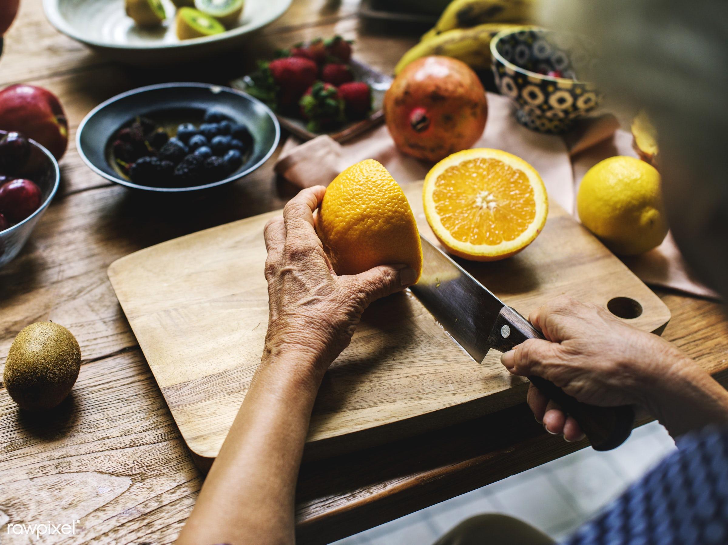 diverse, real, hands, fresh, various, closeup, meal, superfood, orange, cut board, chopping, fruits, prepare, cutting, board...