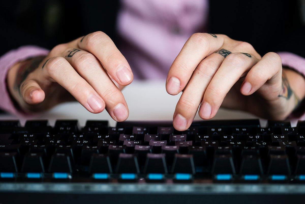 Business person typing