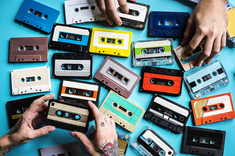 Cassette tape vintage style collection