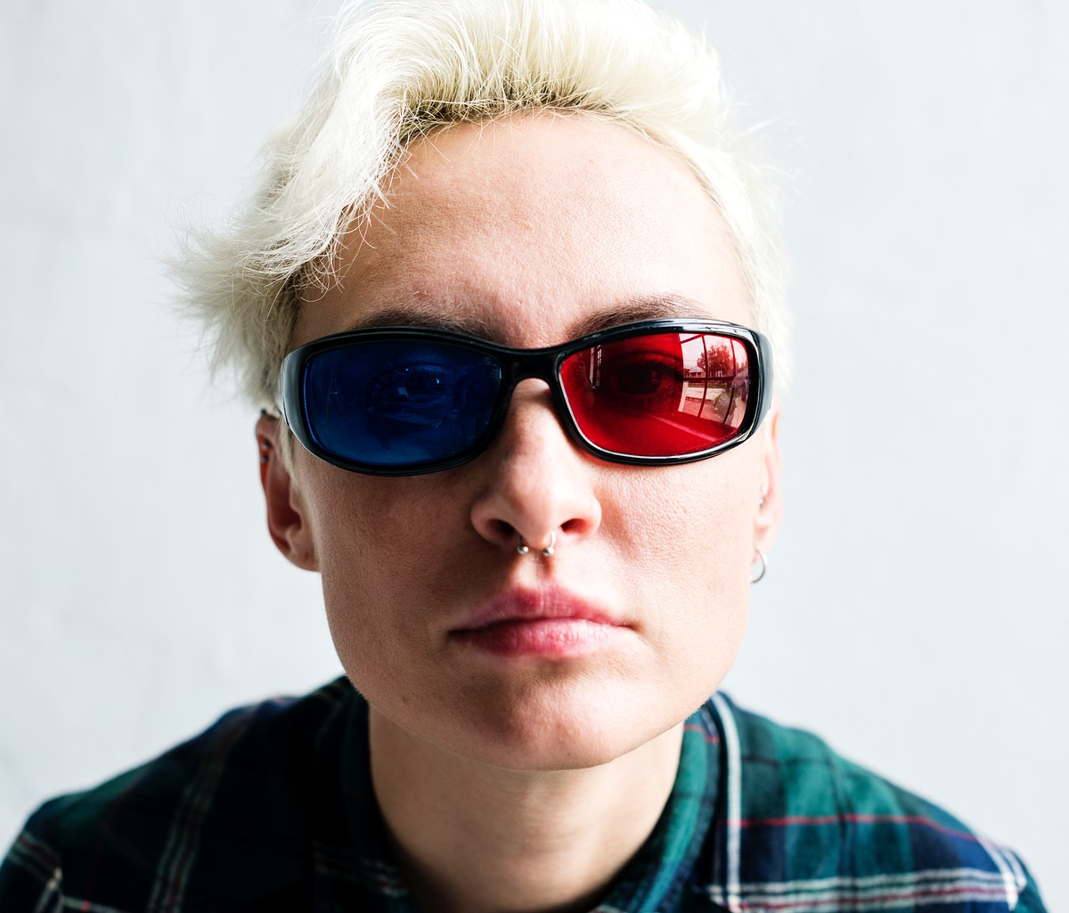 Caucasian woman wearing 3D glasses