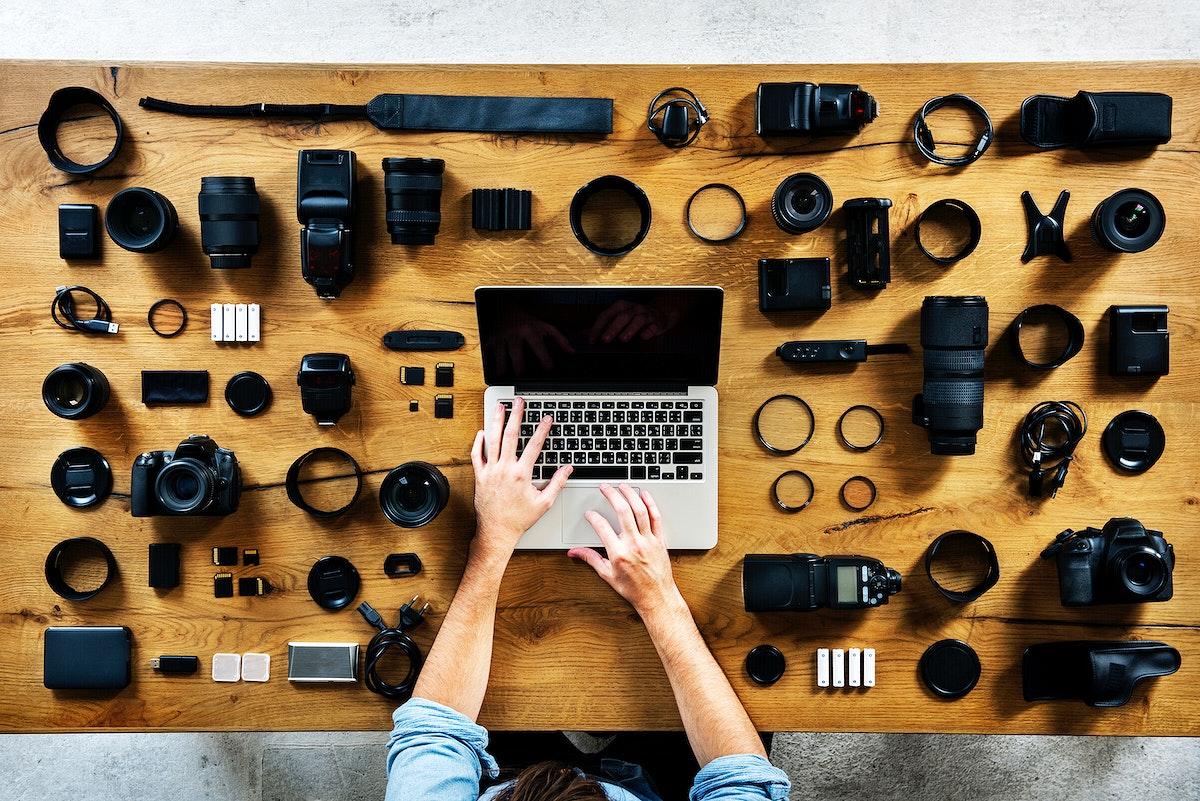 Photographer with camera equipment