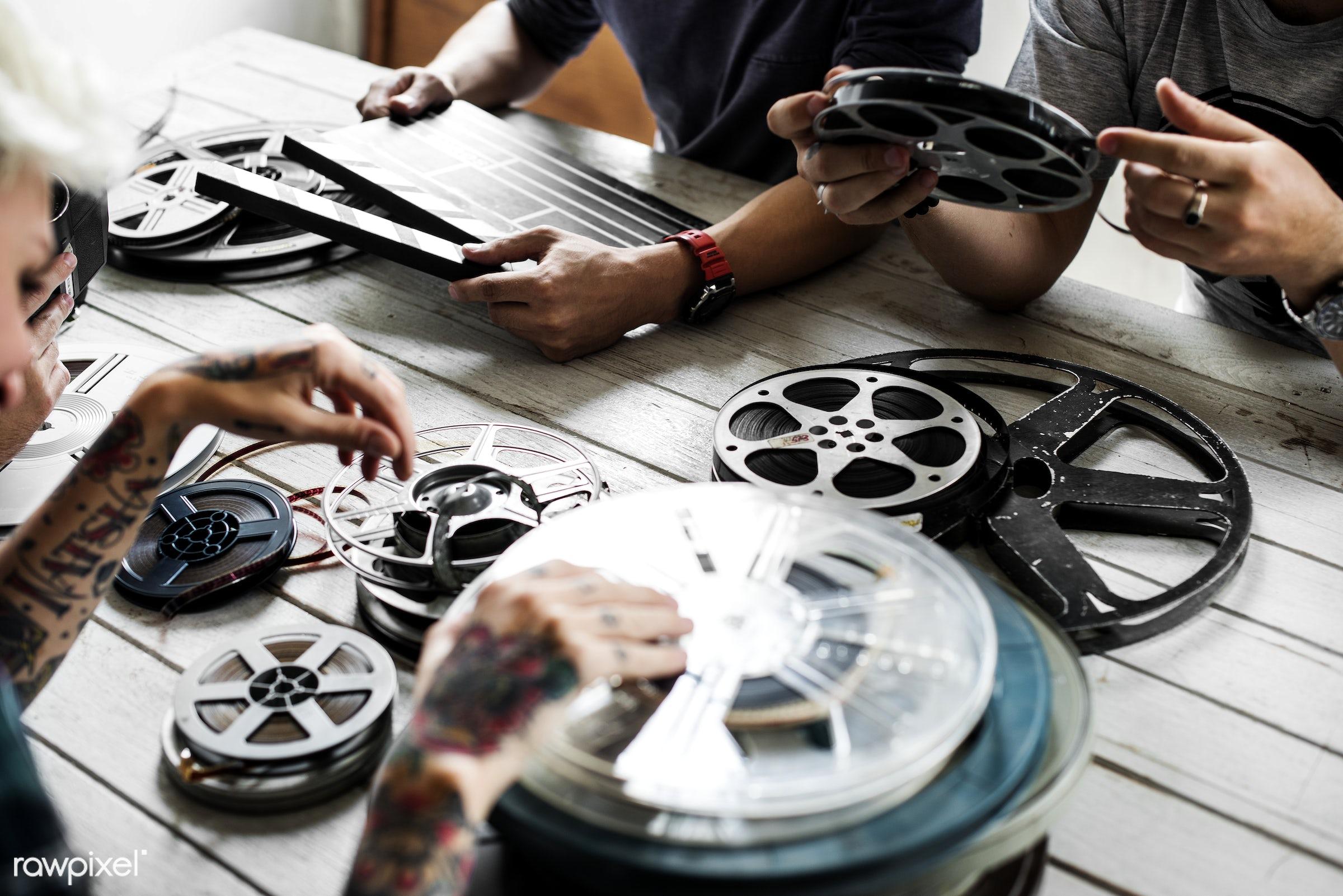 action, antique, cinema, entertainment, equipment, film, film strip, industry, movie, old, retro, scenes, strip, tape, video...