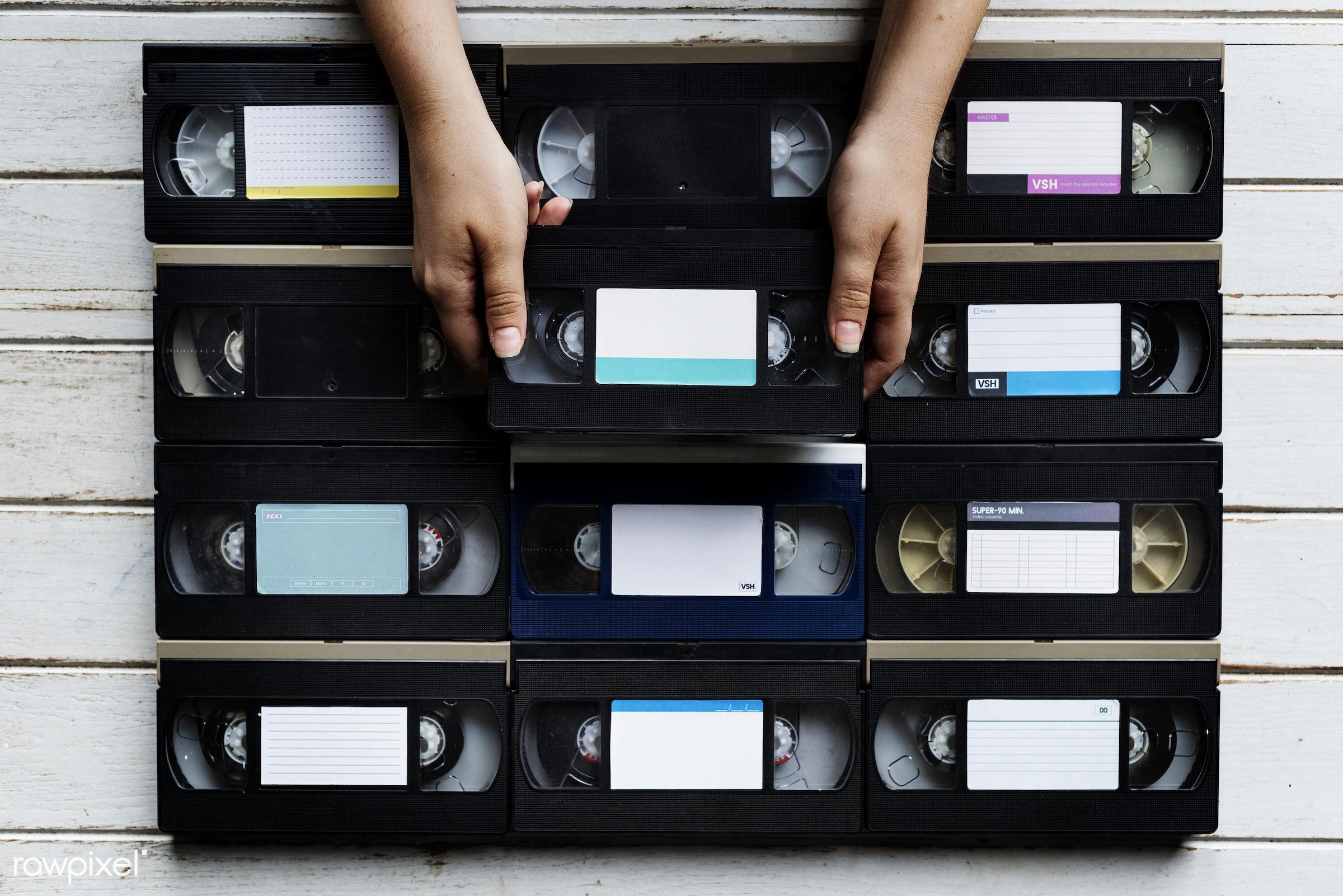 movie, analog, film, format, hands, media, old, record, recorder, retro, tape, technology, video, videocassette, videotape,...