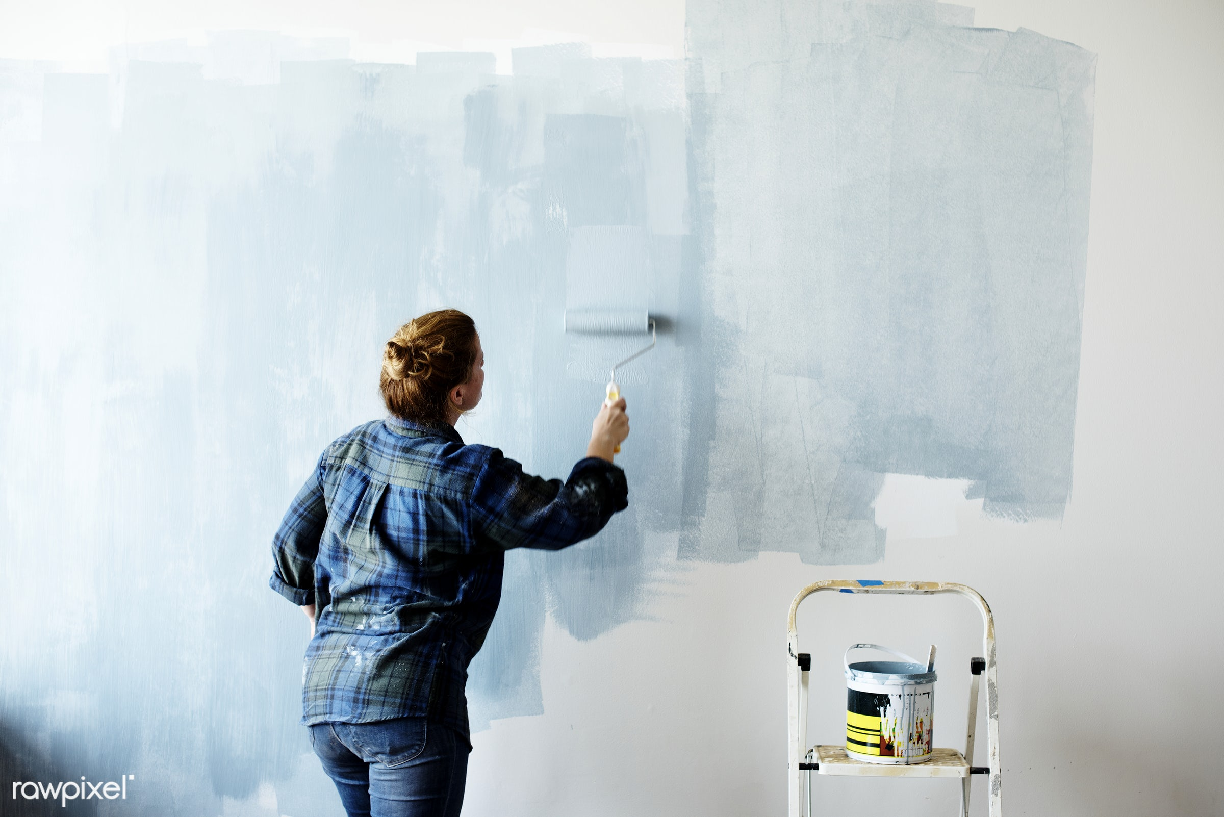 Construction woman painting the wall - home, house, interior, diy, room, renovation, job, decor, french, space, american,...