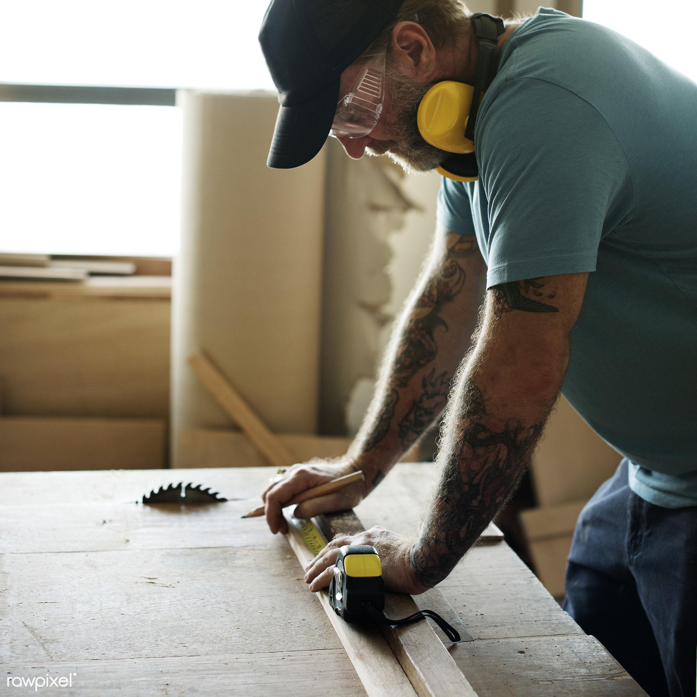 craft, wood, carpentry, cap, tool, plank, equipment, diy, carpenter, handyman, craftsman, worker, repair, tattoo, industry,...