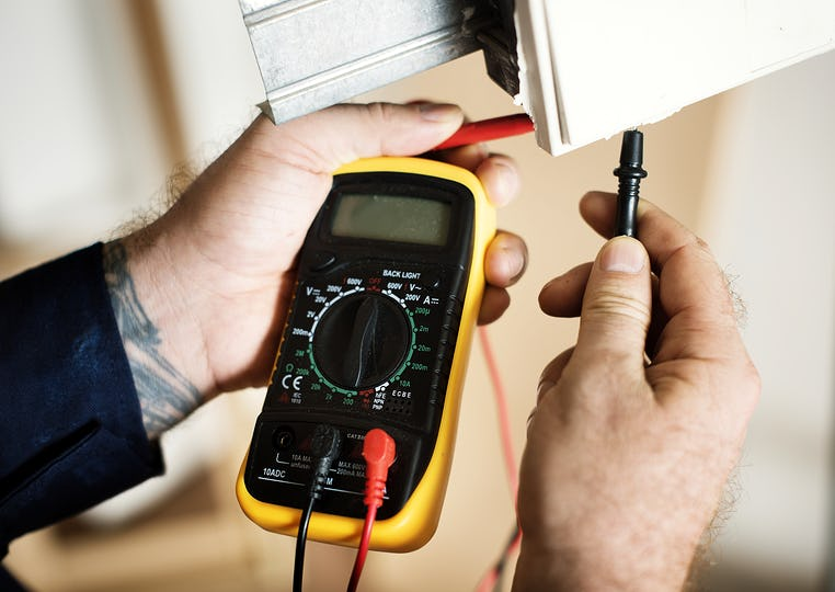 Electrician working house repair installation